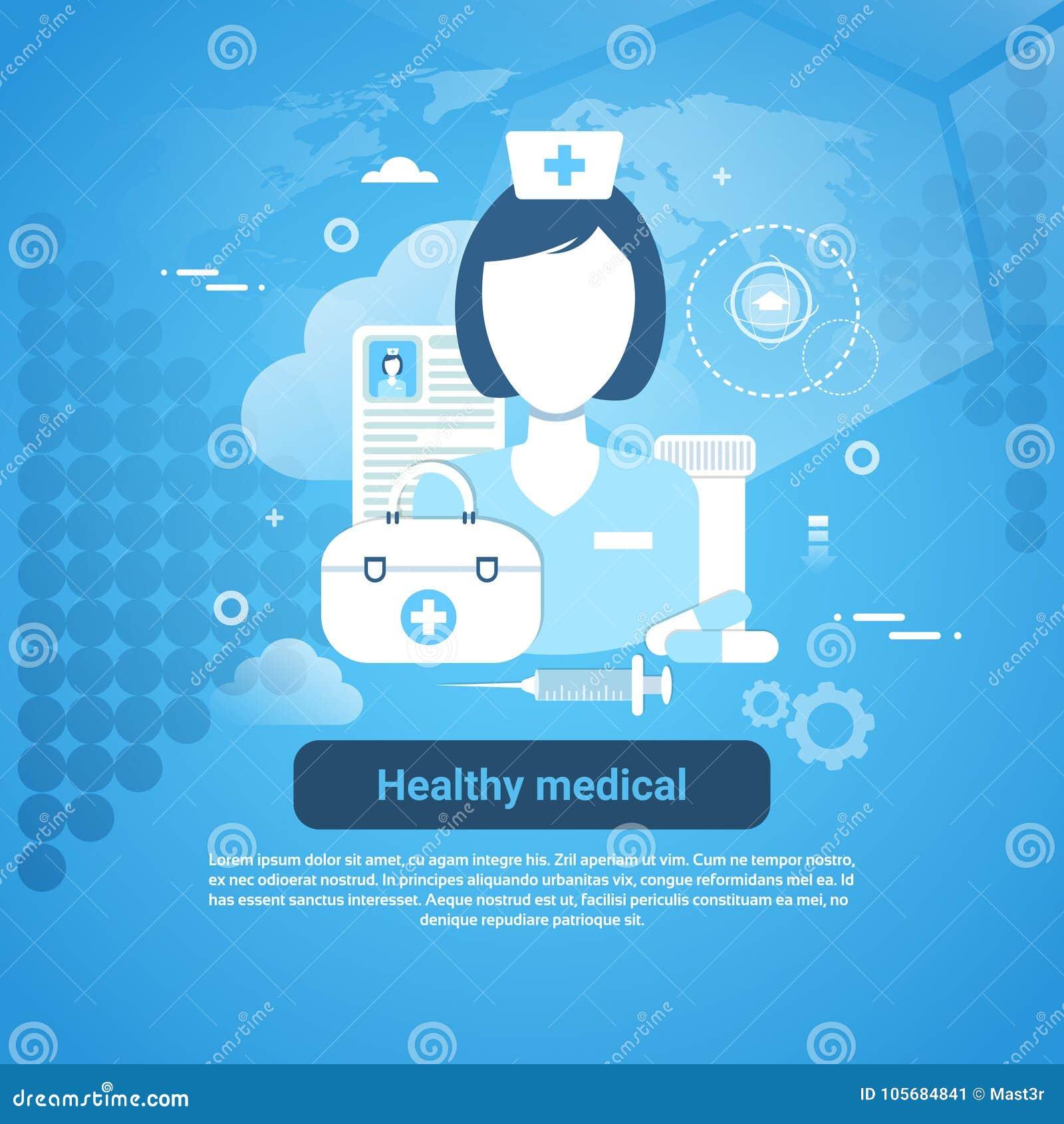Insegna medica sana di web di concetto di applicazione di sanità con lo spazio della copia