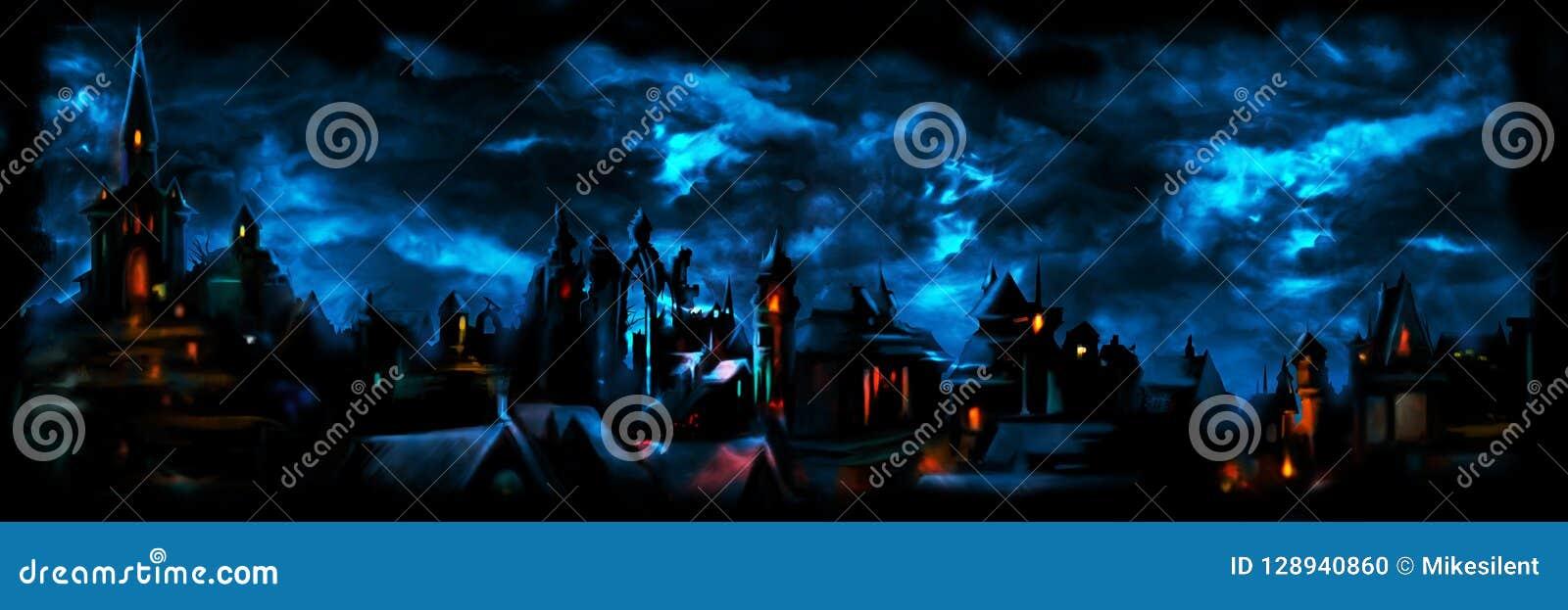 Insegna medievale della città di notte