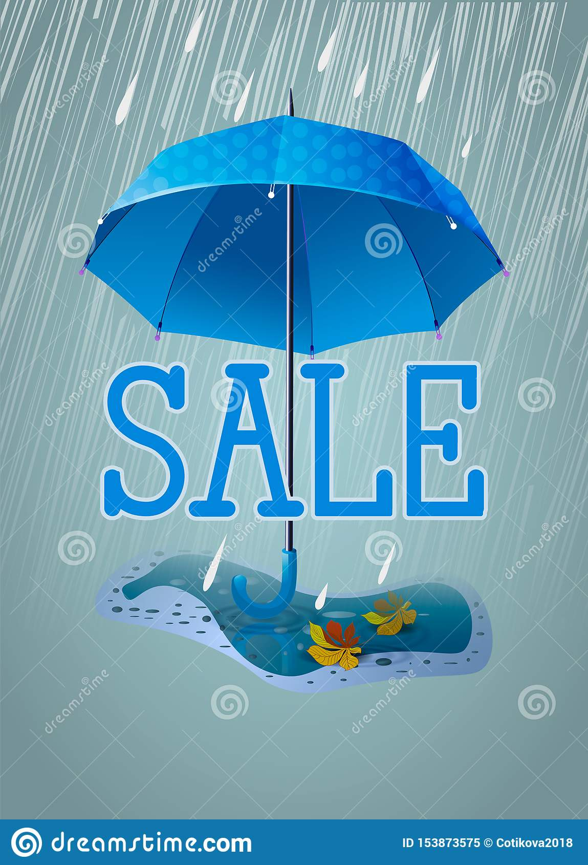 Insegna o carta sveglia da vendere Ombrello blu nella pioggia e con una pozza con le foglie di autunno Illustrazione verticale