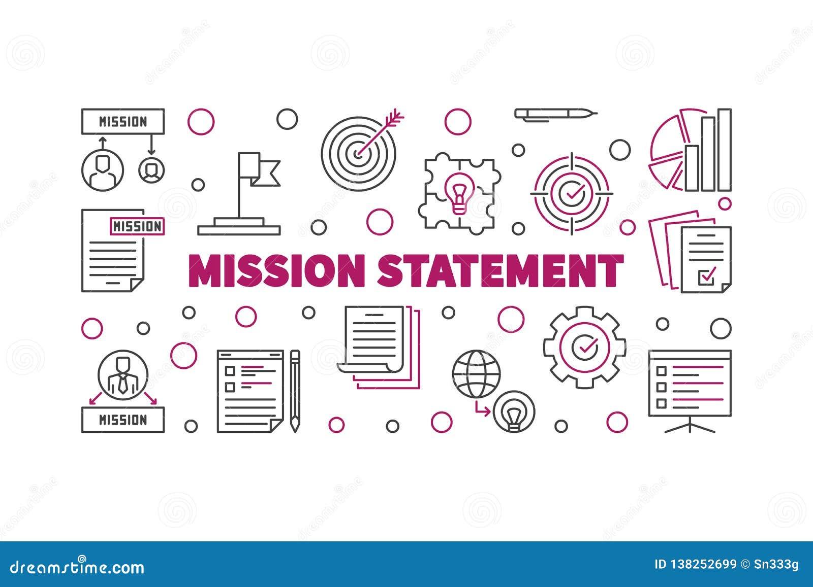 Insegna o illustrazione del profilo di vettore di dichiarazione di missione