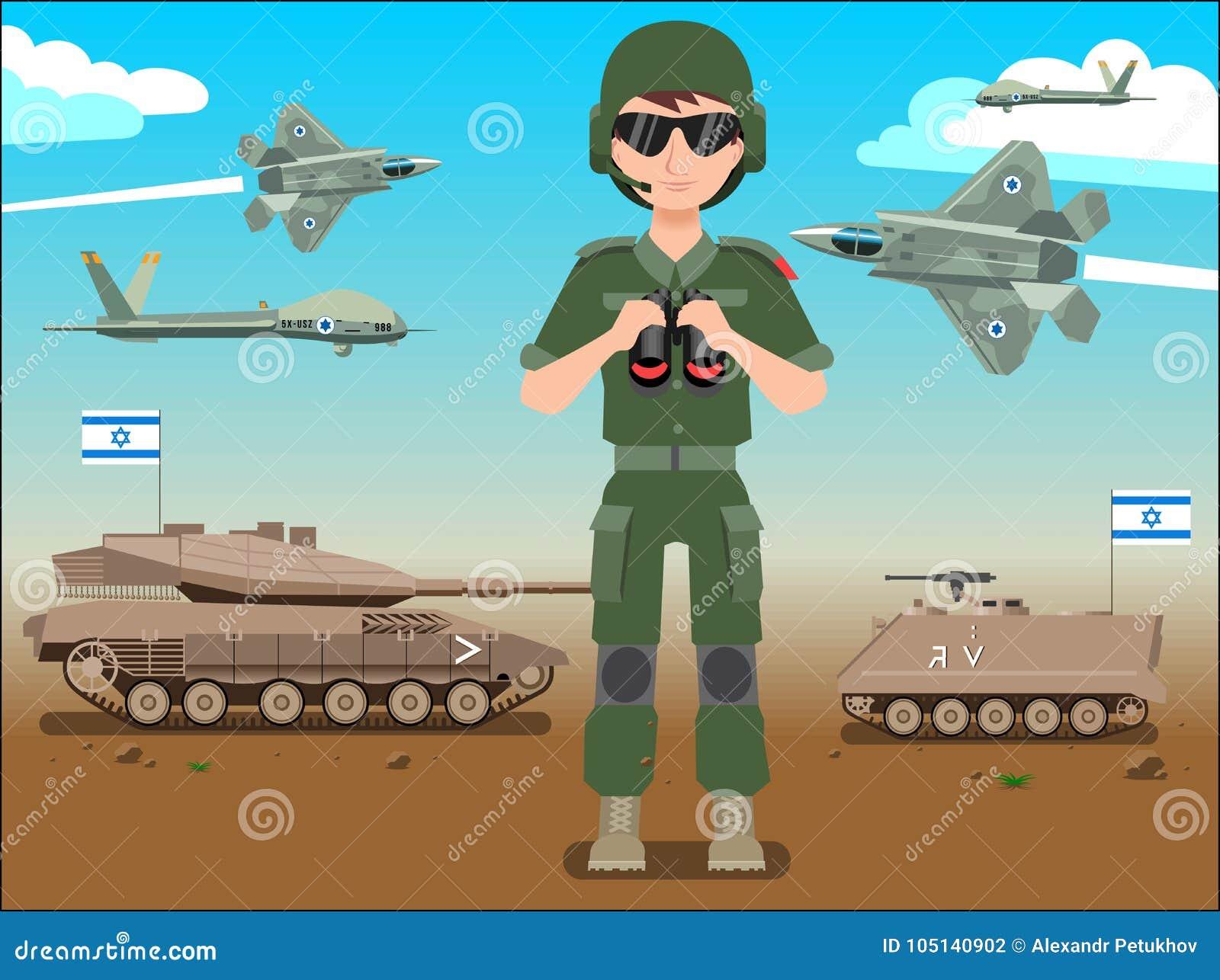 Insegna o manifesto dell esercito delle forze di difesa di Israele Dell IDF del soldato carroarmati anche & æreo a reazione in un