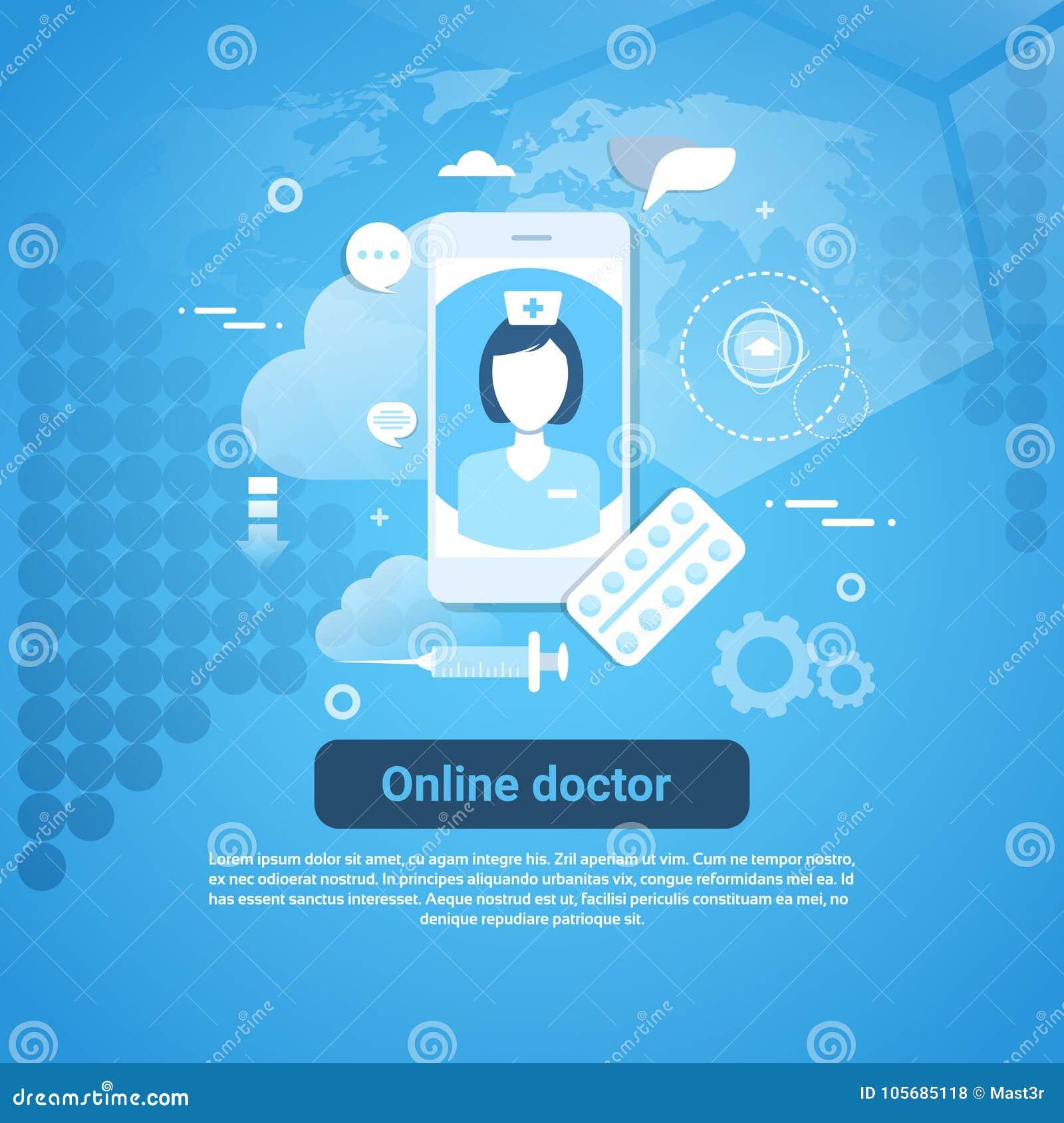 Insegna online di web di concetto di applicazione del dottore Medical Health Care con lo spazio della copia