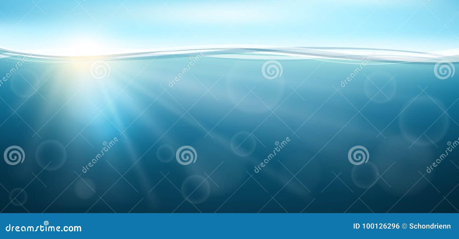 Insegna orizzontale subacquea con la riflessione e l onda