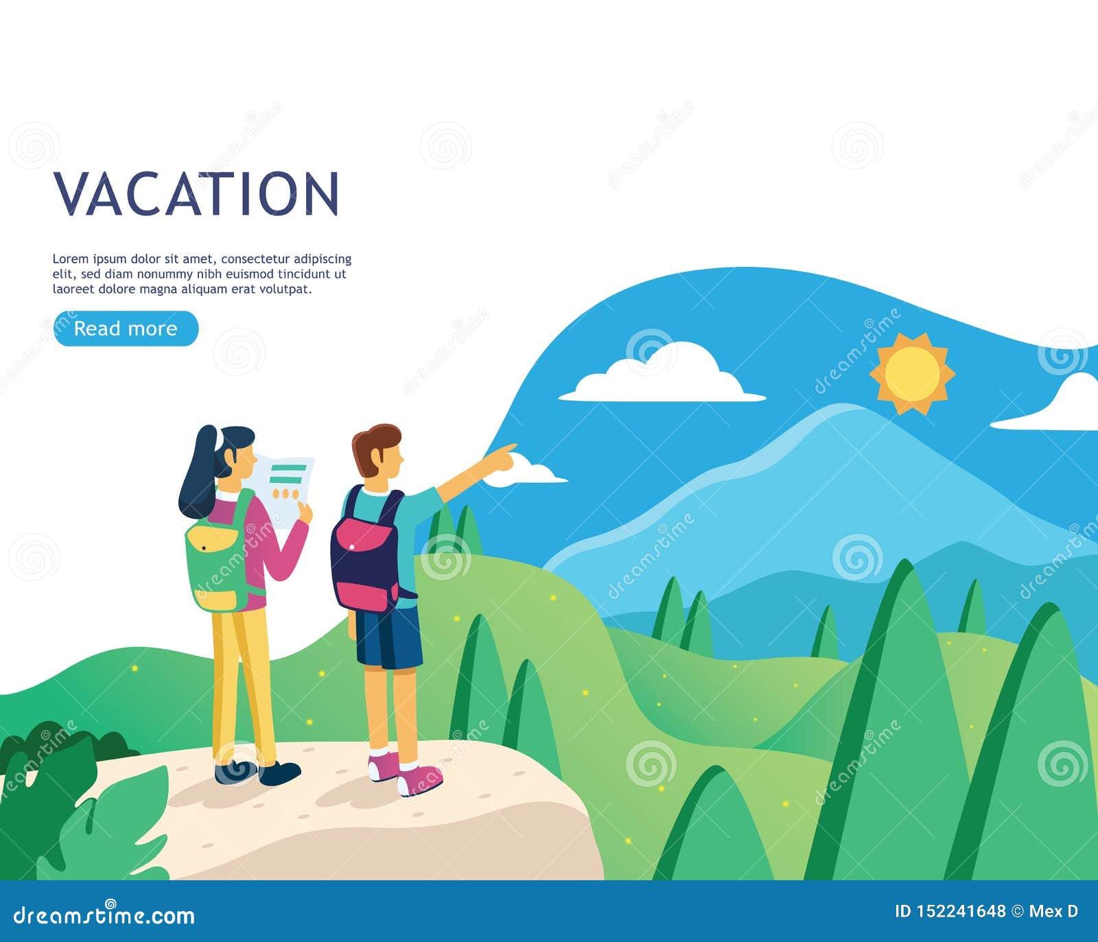 Insegna piana di progettazione per la pagina Web di vacanza, pianificazione di viaggio di festa, destinazione di viaggio, organiz