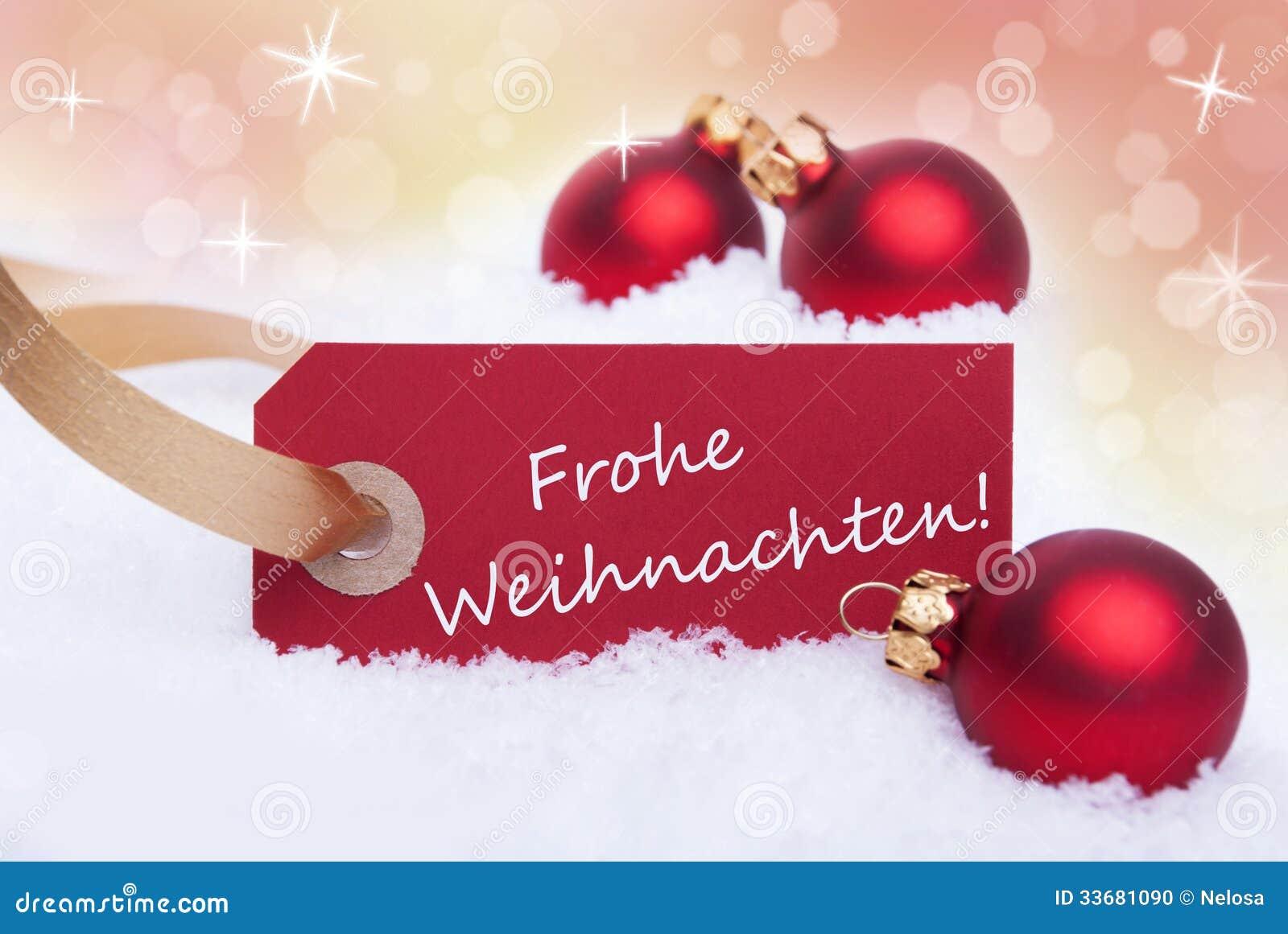 Buon Natale Que Significa.Insegna Rossa Con Frohe Weihnachten Fotografia Stock Immagine Di