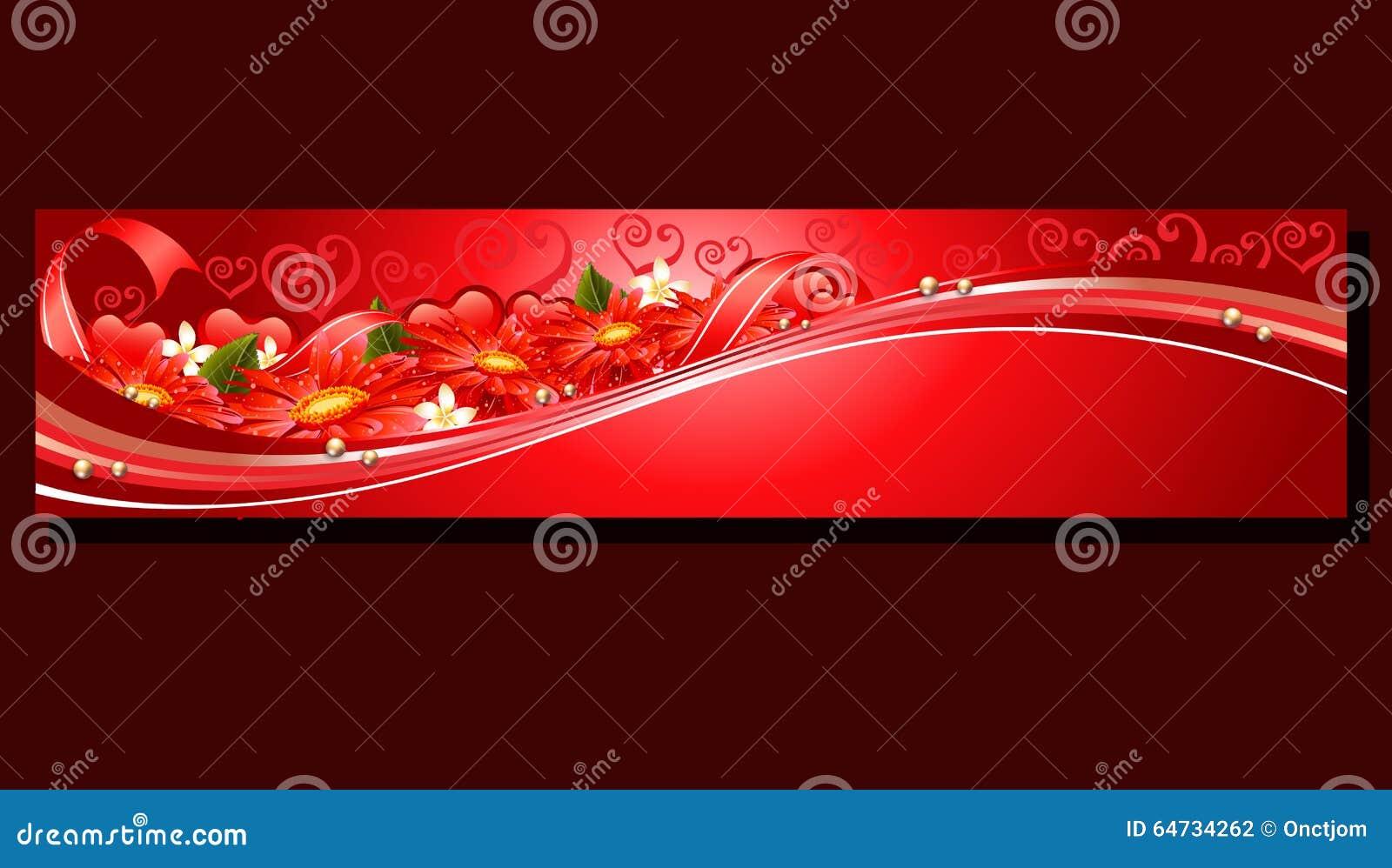 Insegna rossa del fiore del biglietto di S. Valentino