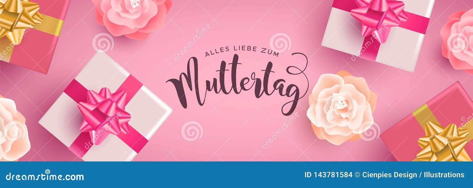 Insegna tedesca di giorno di madri con i regali ed i fiori