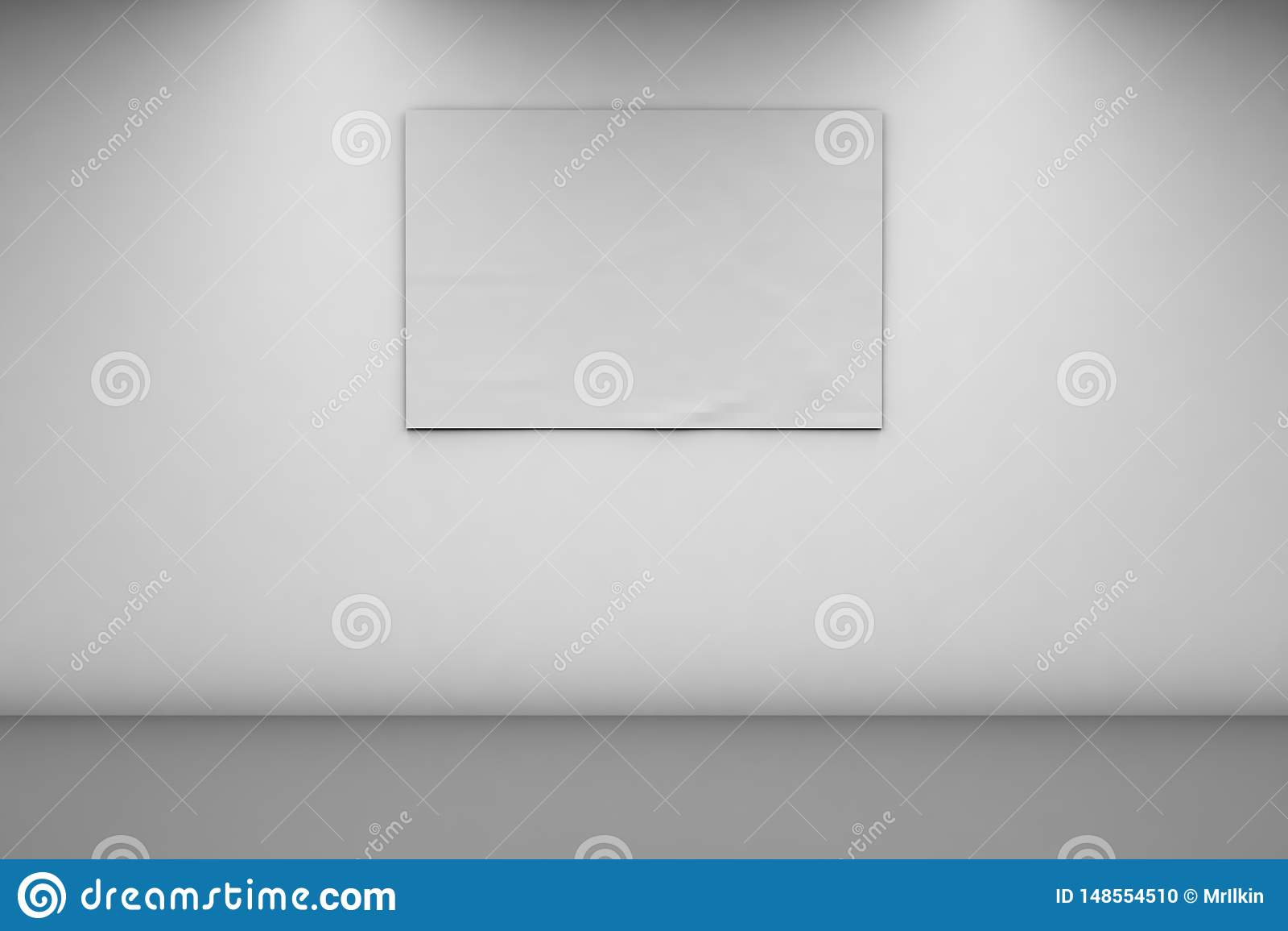 Insegne in bianco 2 x 3 su una parete bianca Insegna orizzontale in una stanza vuota 3d rappresentazione, vista frontale