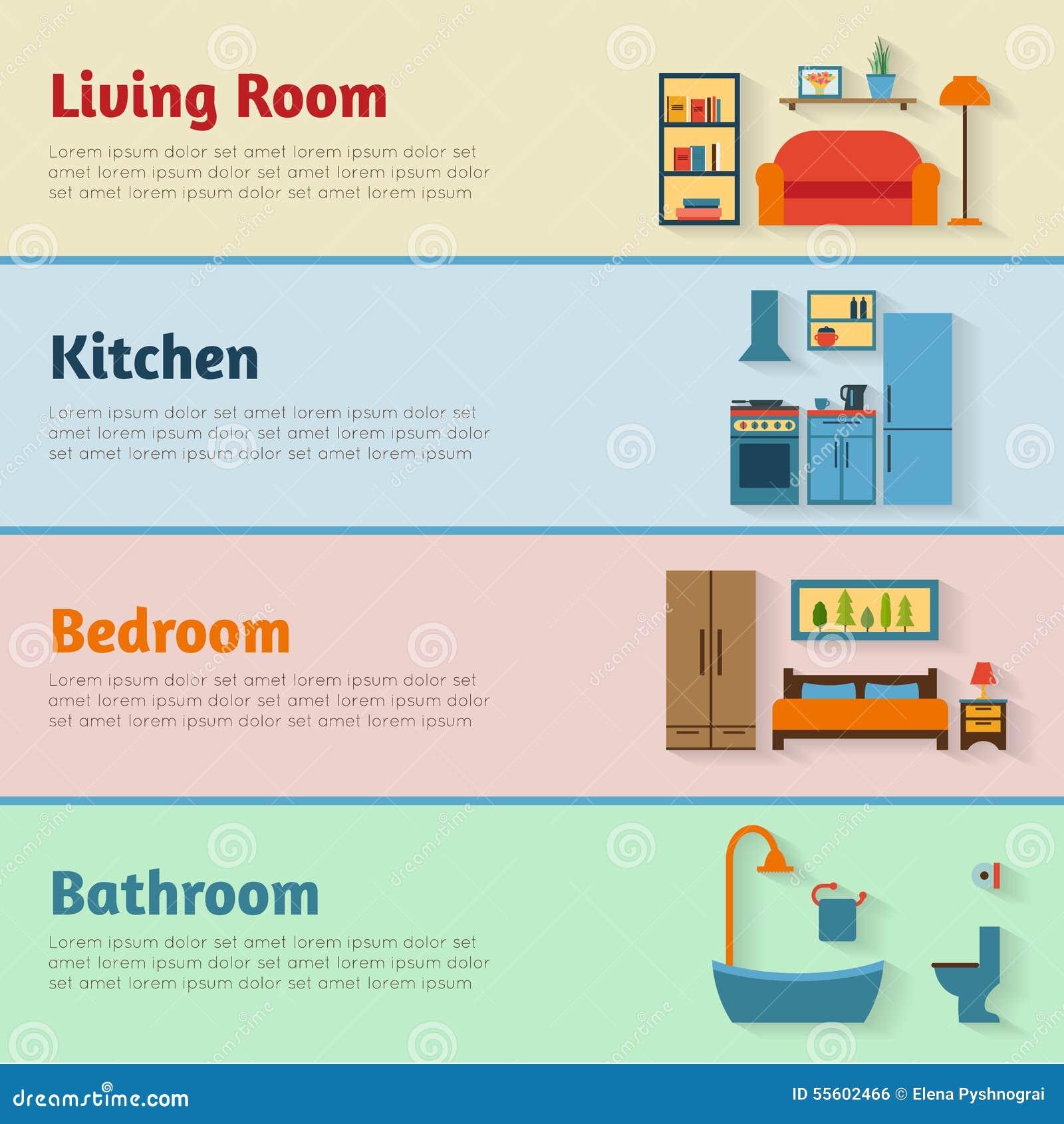 Insegne con le icone della mobilia per le stanze della for Disegni e prezzi della casa
