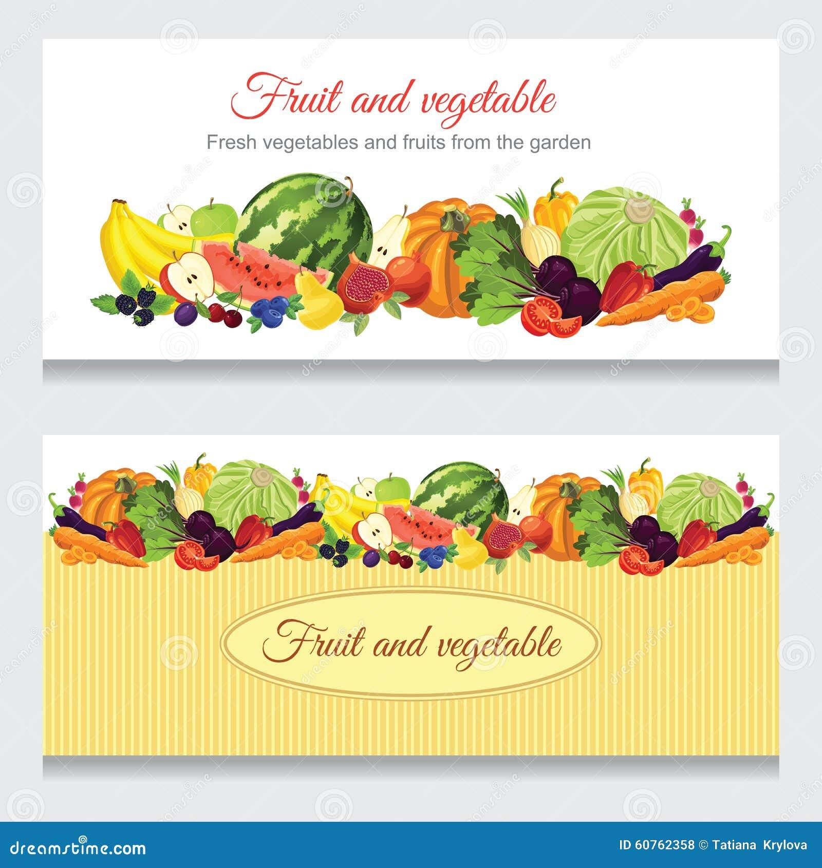 abbastanza Insegne Con Varie Frutta, Bacca E Verdure Illustrazione Vettoriale  NE95