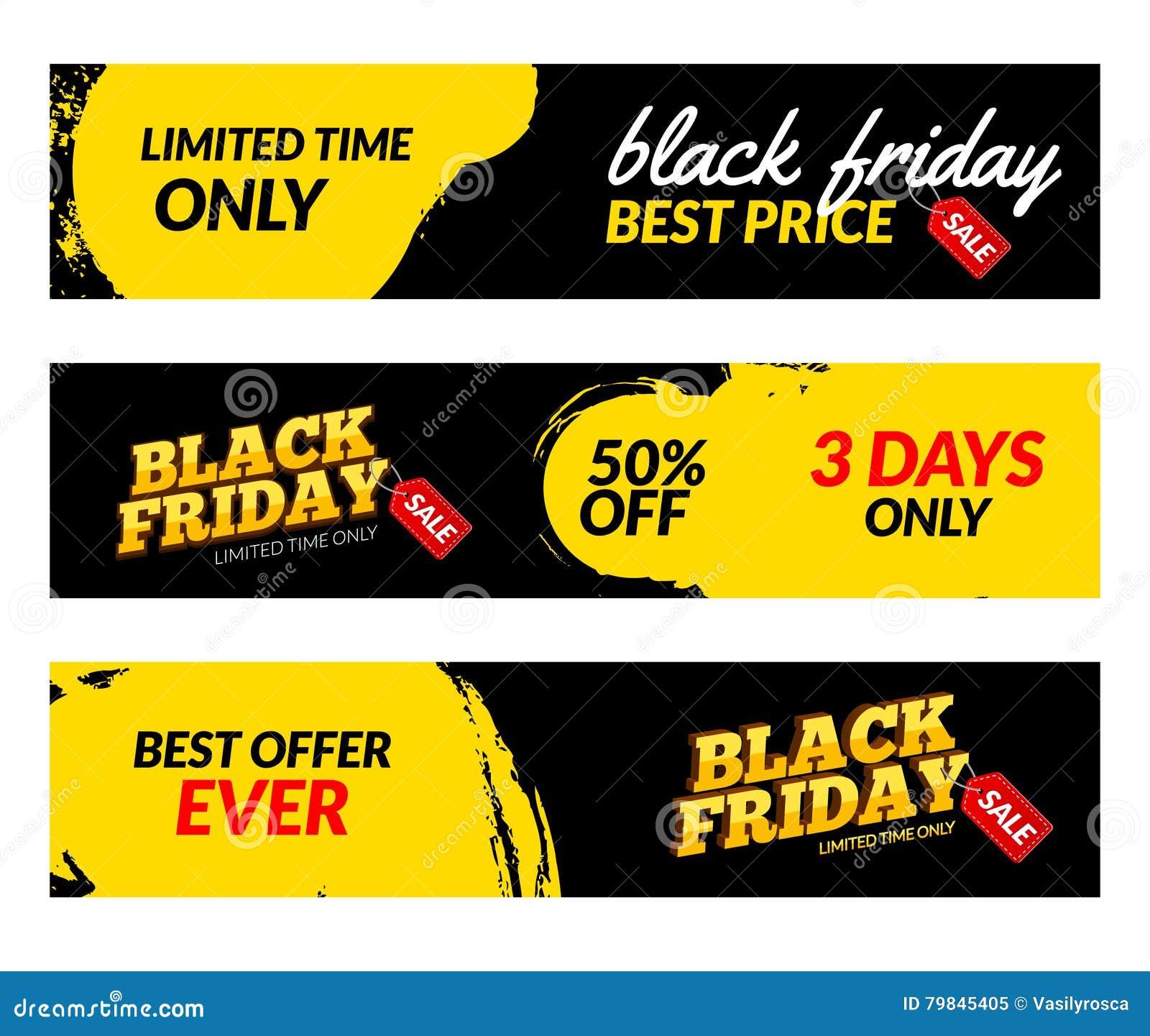 Insegne di Black Friday Modello di progettazione del mercato di web di vendita di vettore Concetto nero di sconto di offerta di v