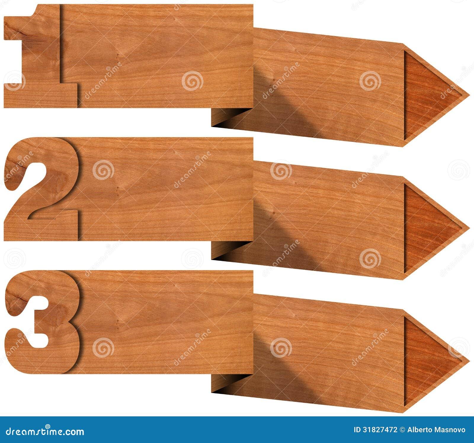 Insegne di legno con tre opzioni fotografia stock for Opzioni di rivestimenti in legno