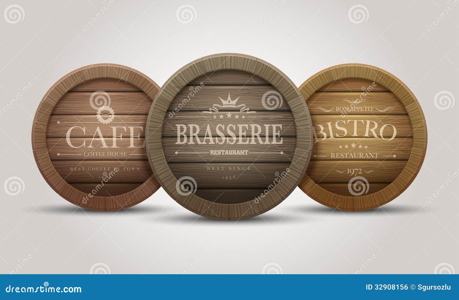 Insegne Negozi In Legno : Insegne di legno del barilotto illustrazione vettoriale