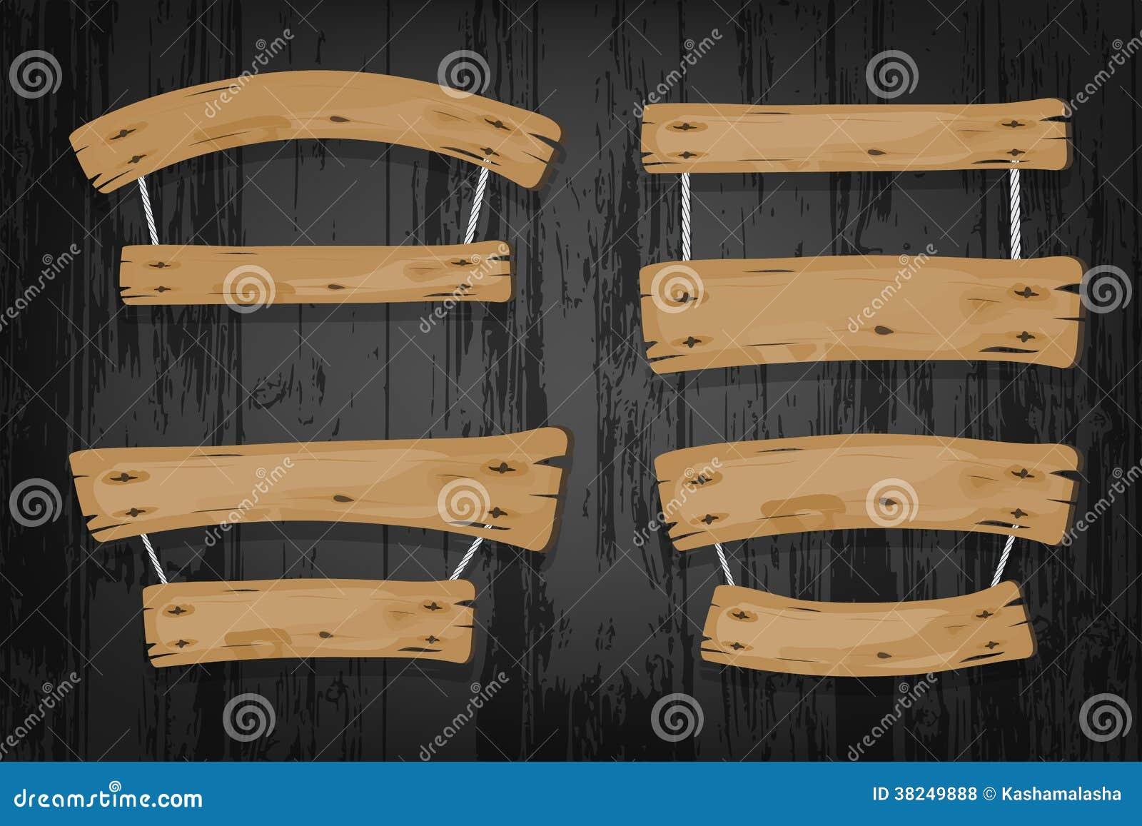 Insegne Negozi In Legno : Insegne di legno e nastri di vettore di brown che appendono sopra