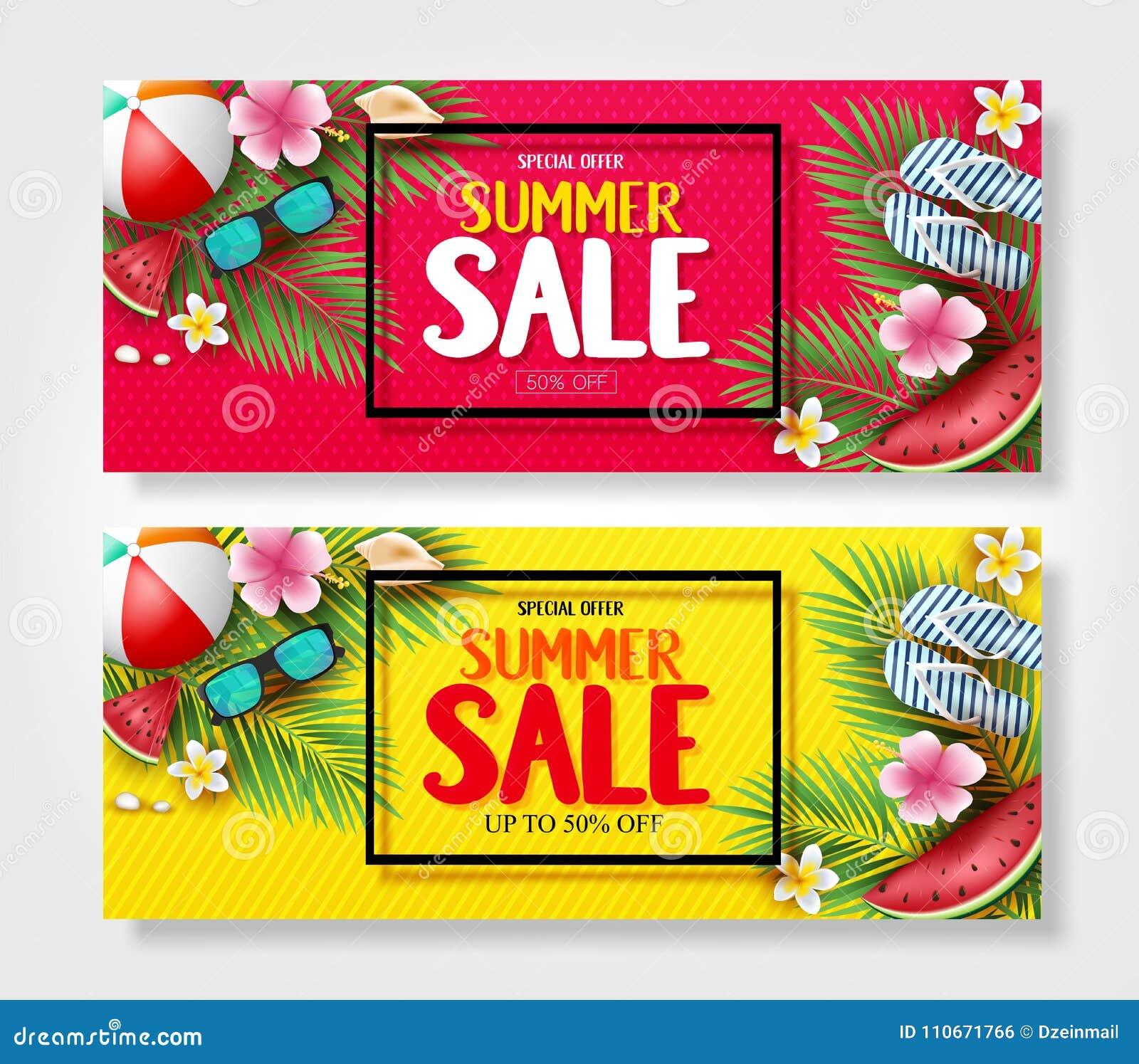 Insegne di vendita di estate di offerta speciale con le foglie, i fiori, l anguria, gli occhiali da sole e le pantofole della pal