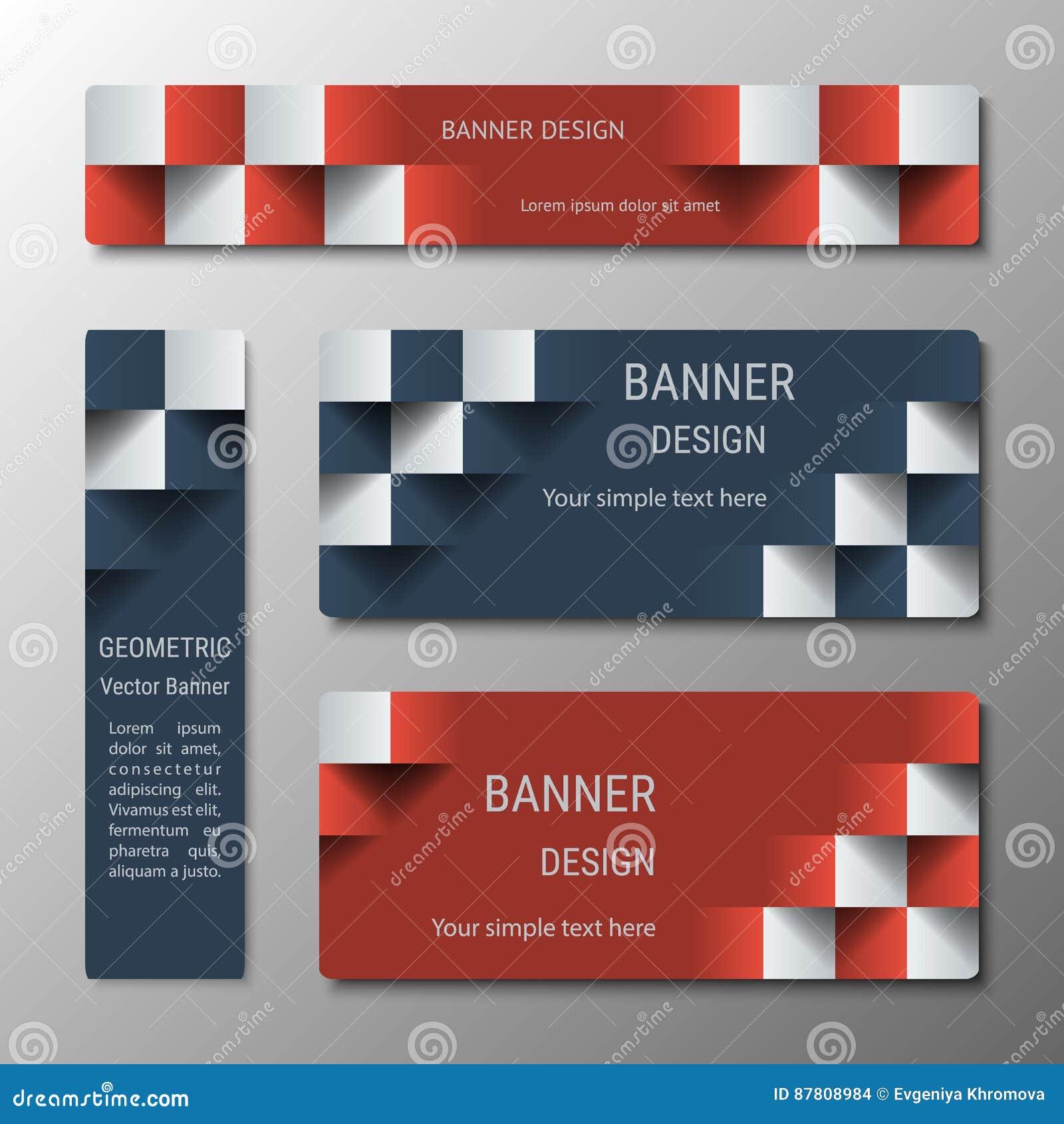 Insegne rettangolari verticali ed orizzontali geometriche della larghezza variante con l effetto 3D per un sito Web di affari