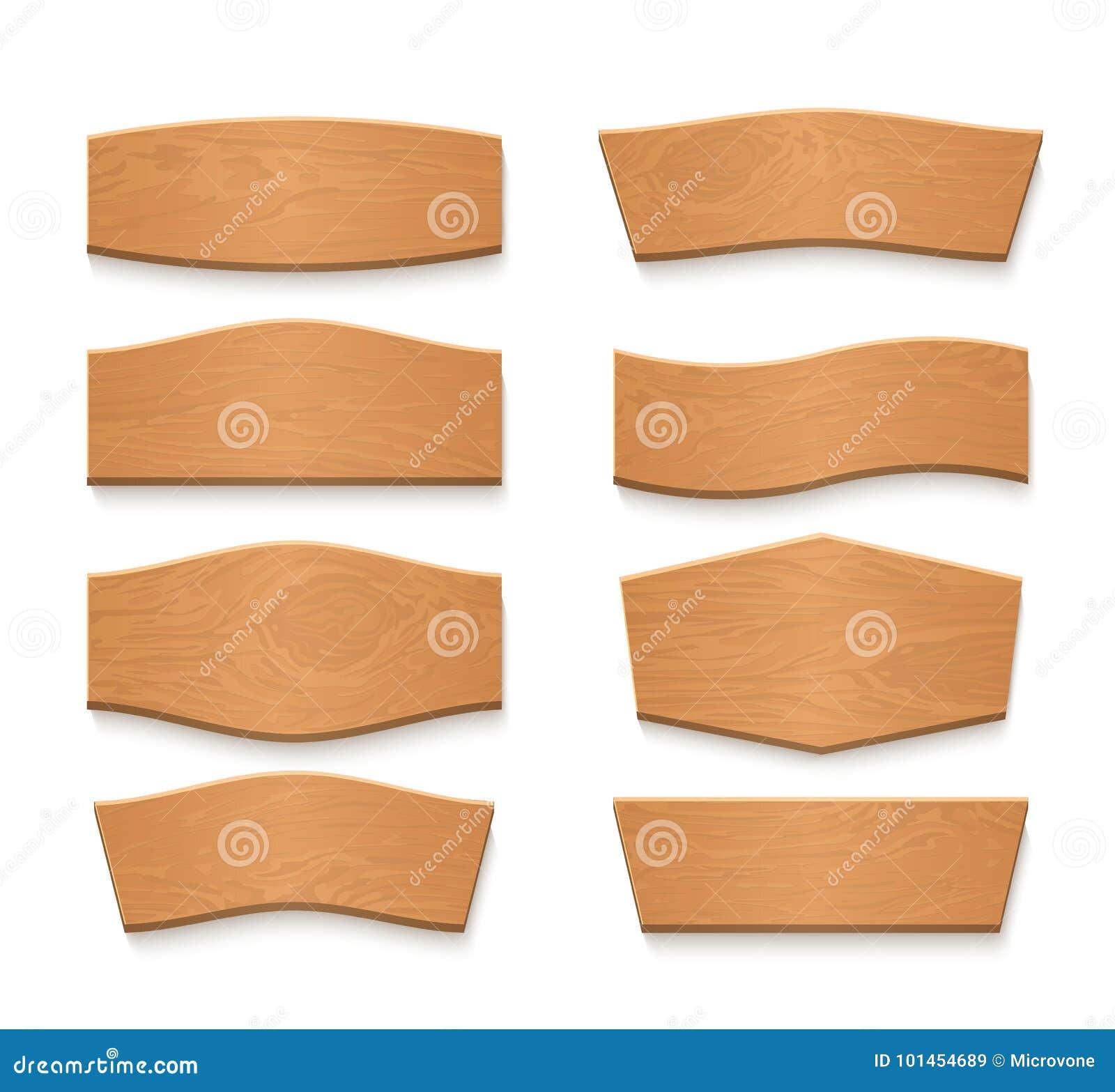 Insegne vuote di vettore del piatto marrone di legno del fumetto Nastri di legno d annata messi