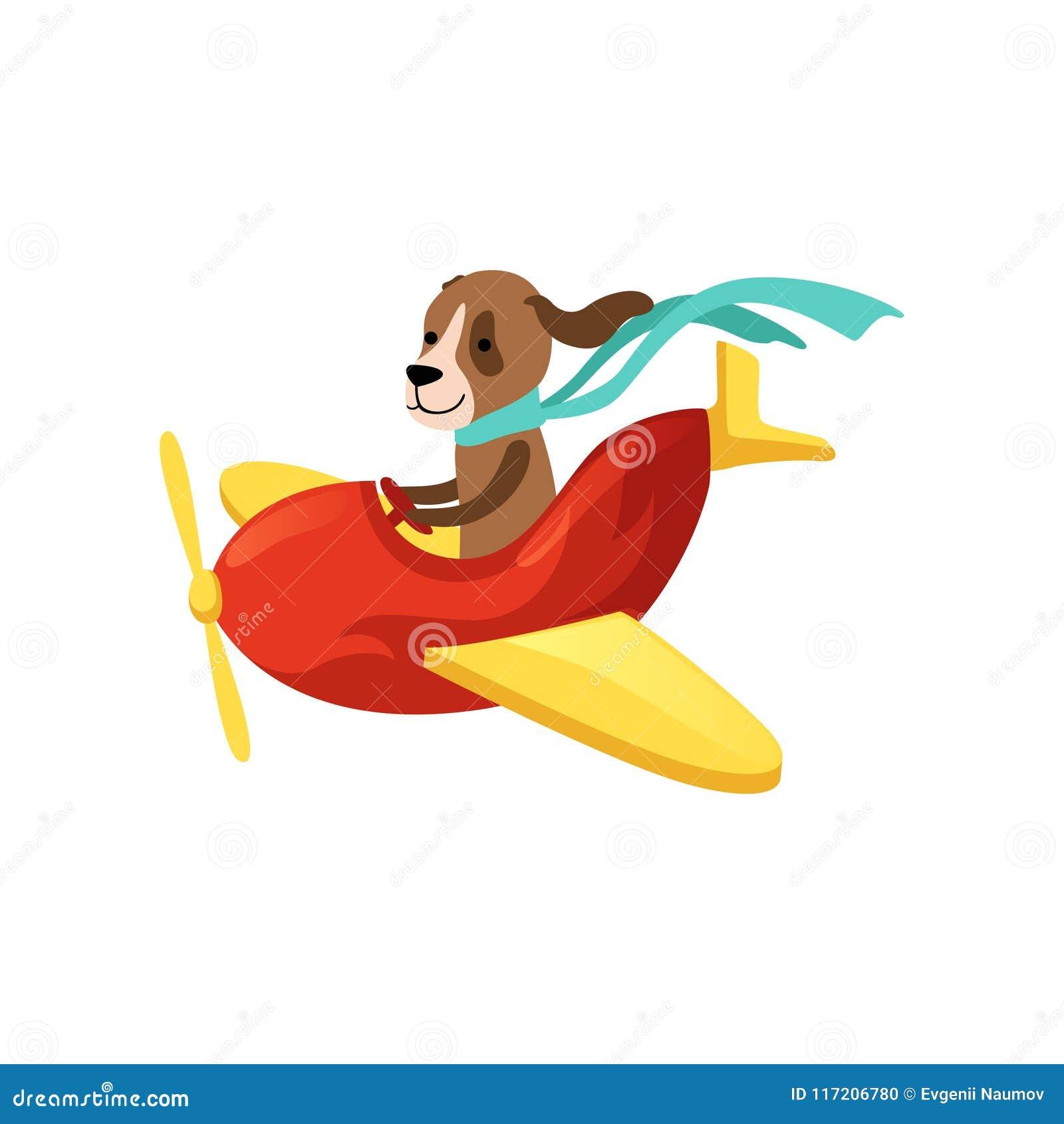 Insegua il volo sullaeroplano rosso con le ali e lelica gialle