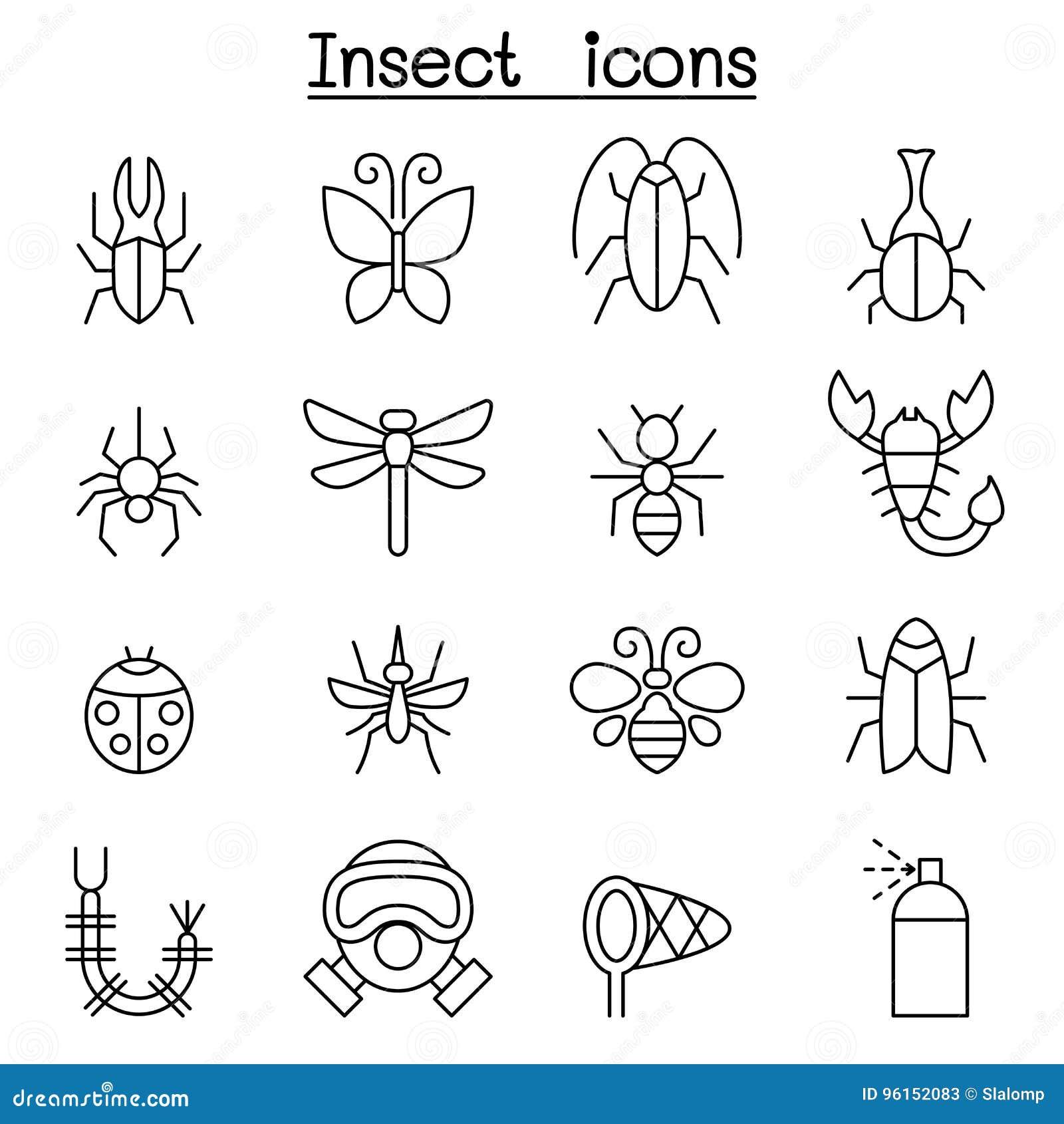 Insekta & pluskwy ikona ustawiająca w cienkim kreskowym stylu