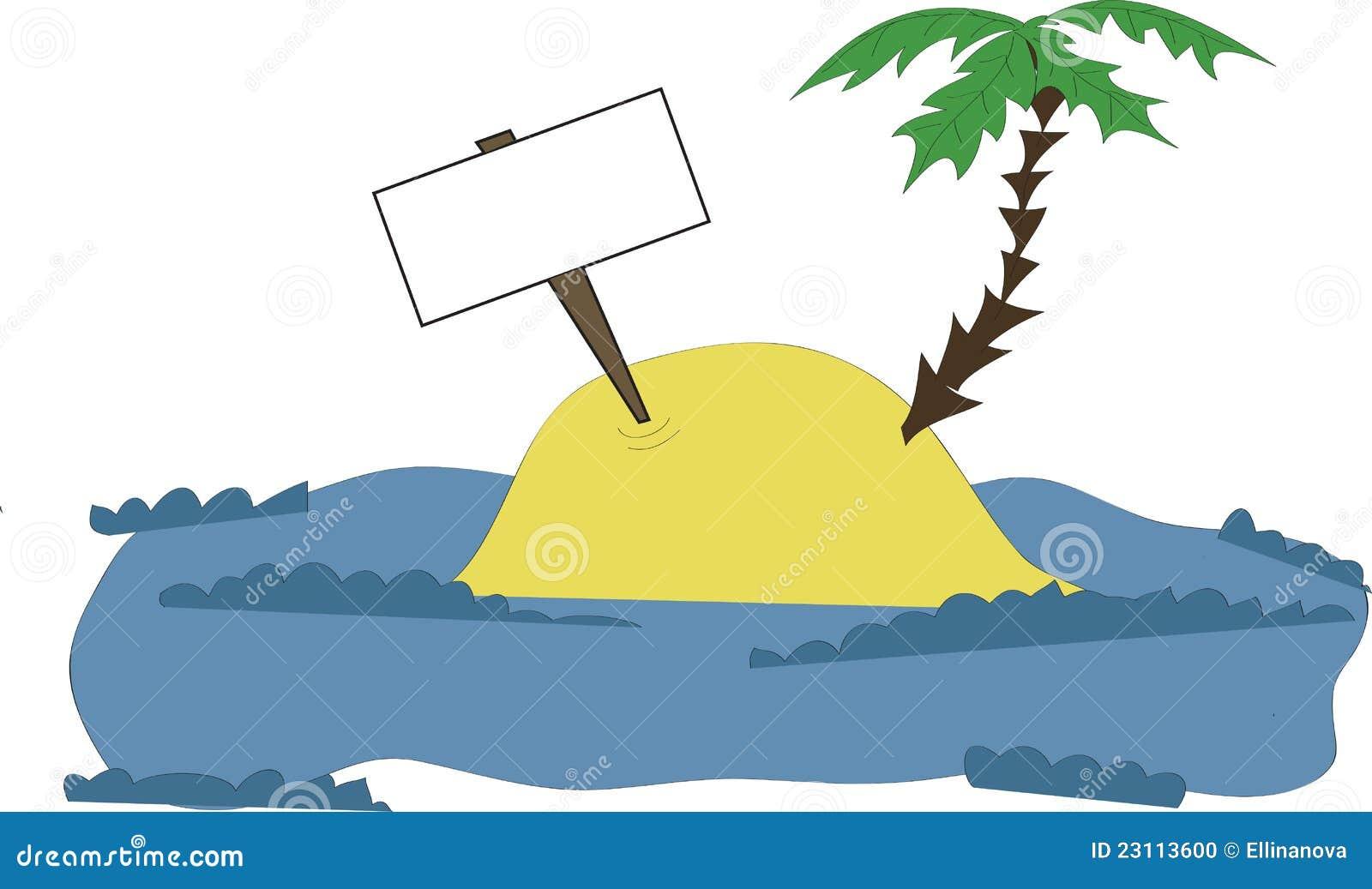 insel mit einer palme und einer tablette vektor abbildung bild 23113600. Black Bedroom Furniture Sets. Home Design Ideas