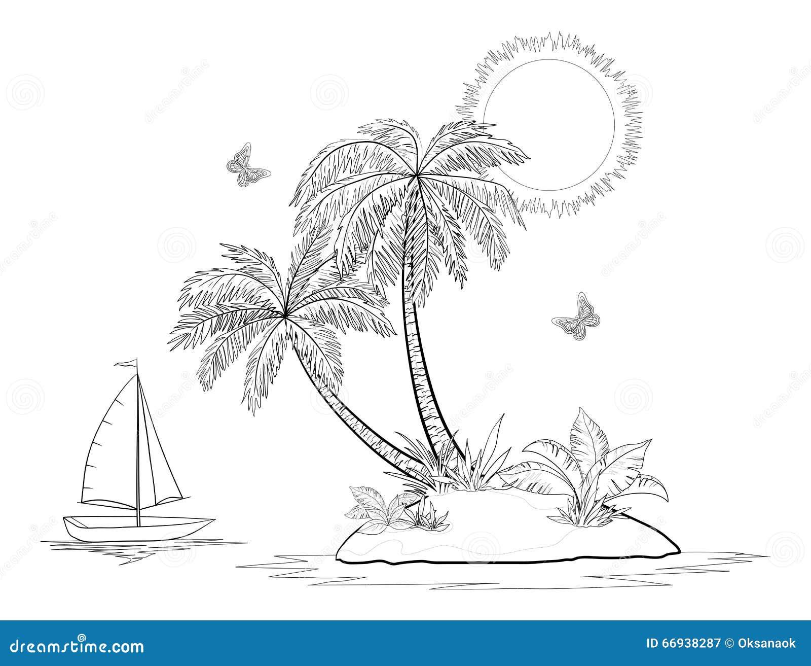 insel mit palme schiff und schmetterlingen vektor abbildung bild 66938287. Black Bedroom Furniture Sets. Home Design Ideas