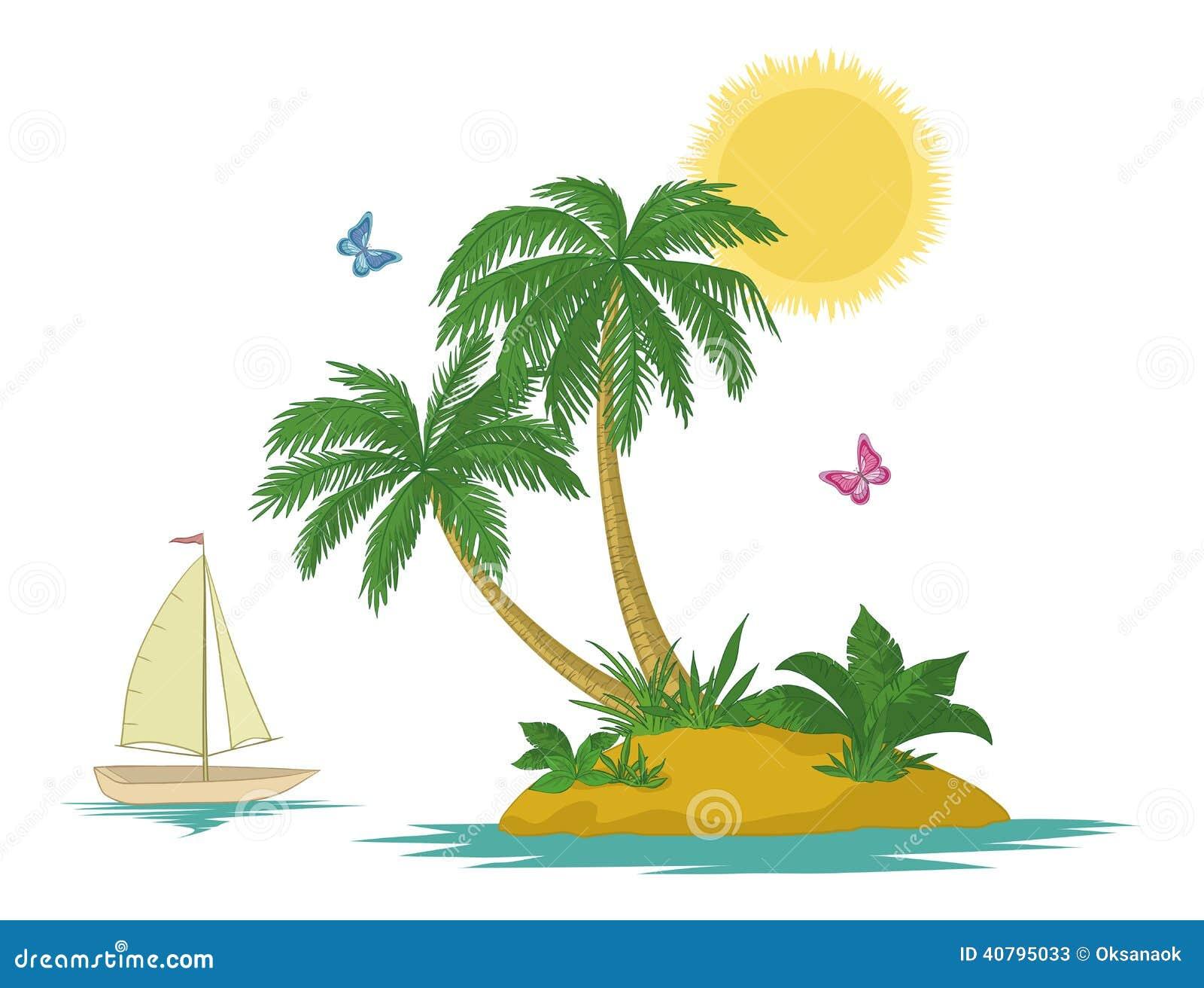 insel mit palme und lieferung vektor abbildung illustration von segel floral 40795033. Black Bedroom Furniture Sets. Home Design Ideas