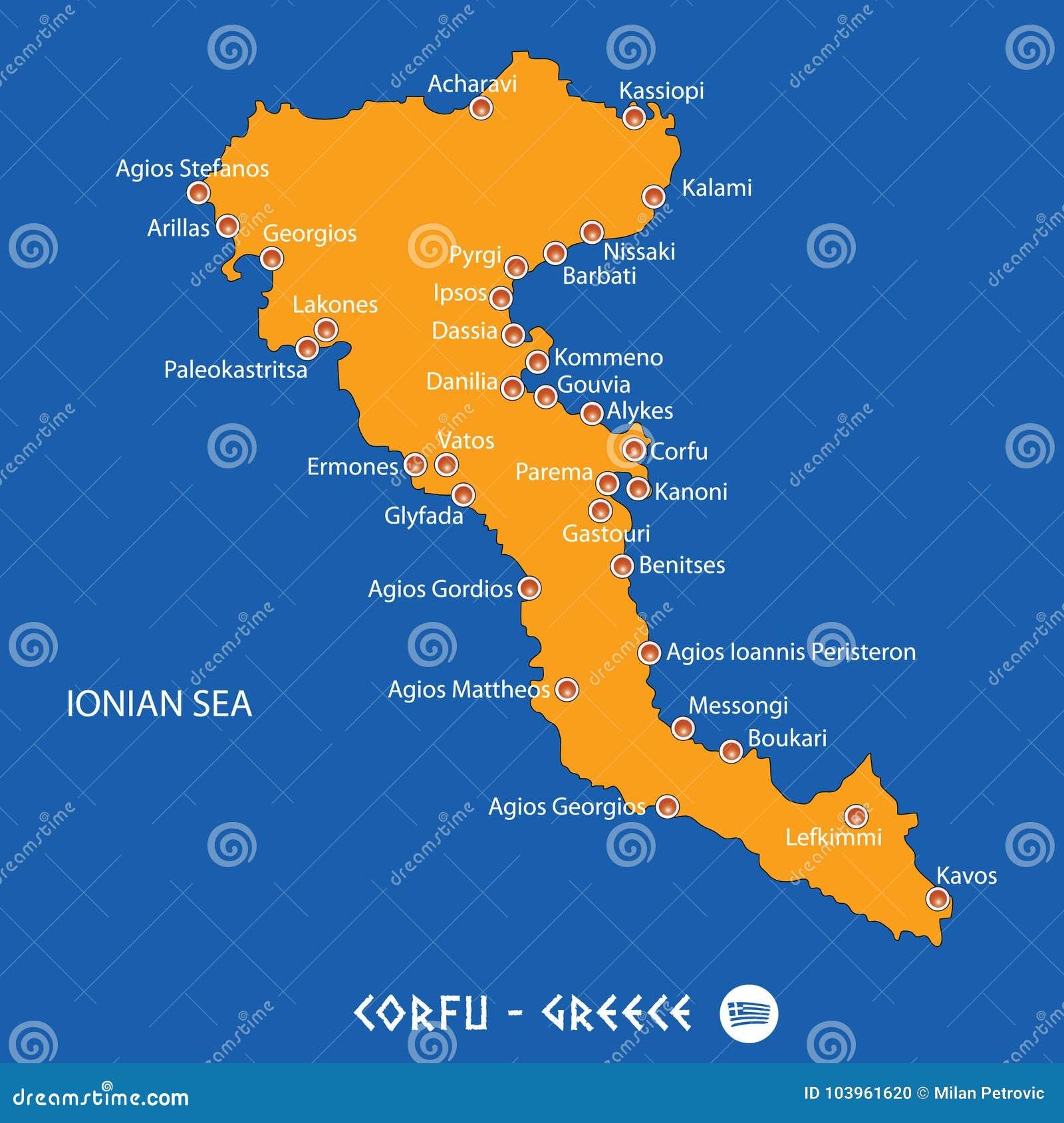 Insel Von Korfu In Orange Karte Griechenlands Und Im Blauen