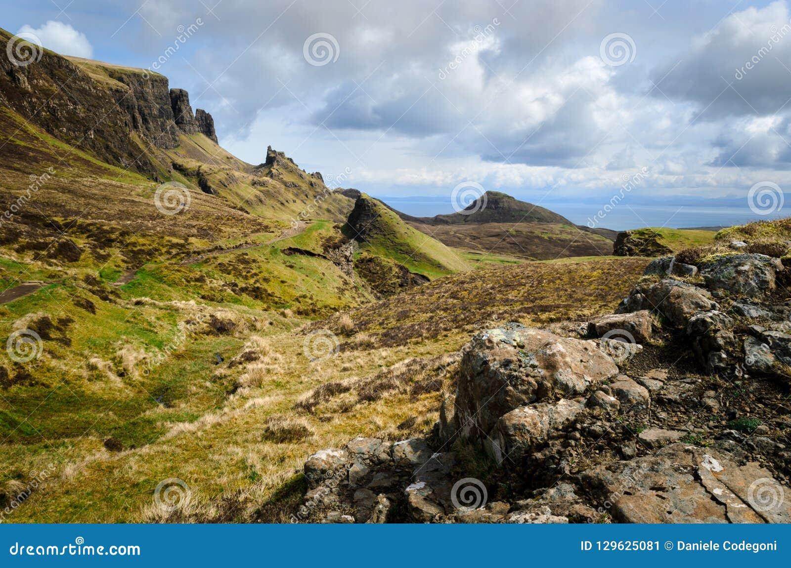 Insel von skye, Quiraing-Berg, szenische Landschaft Schottlands