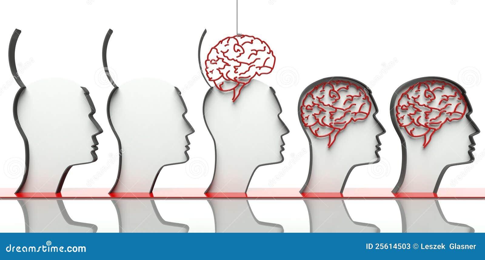 Inserción de cerebros en pistas, concepto de inteligencia