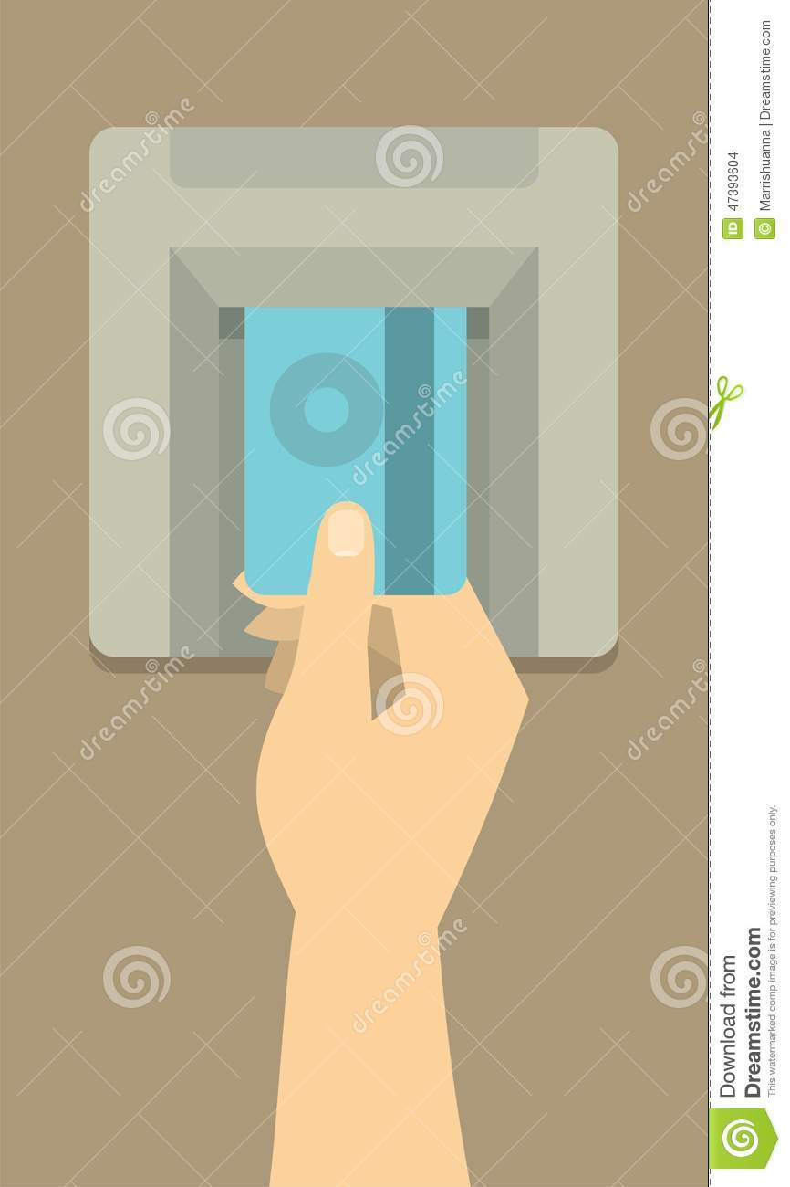Insert Card Into The Atm Stock Vector