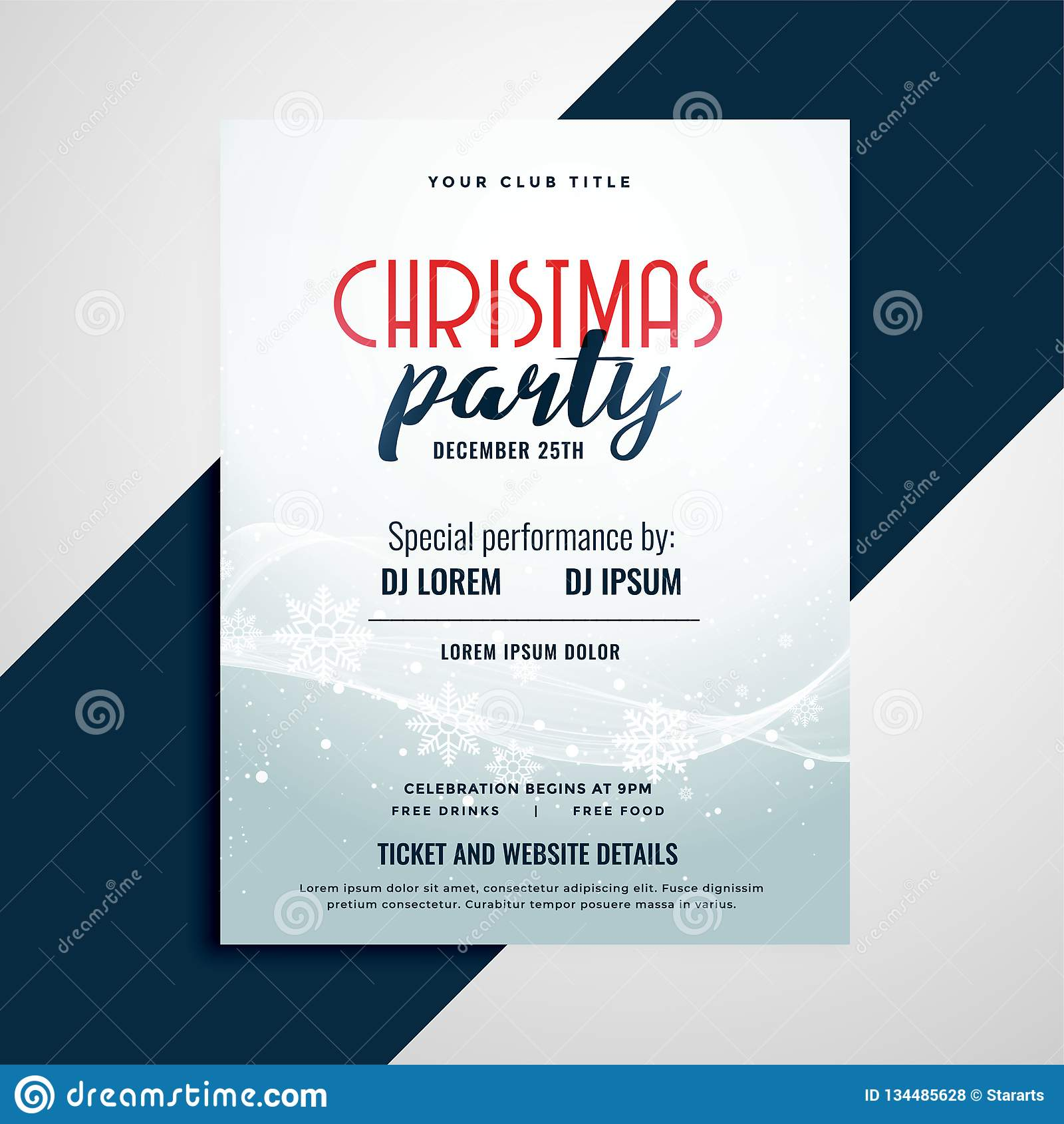 Inseto da celebração do Feliz Natal com espaço dos detalhes do evento