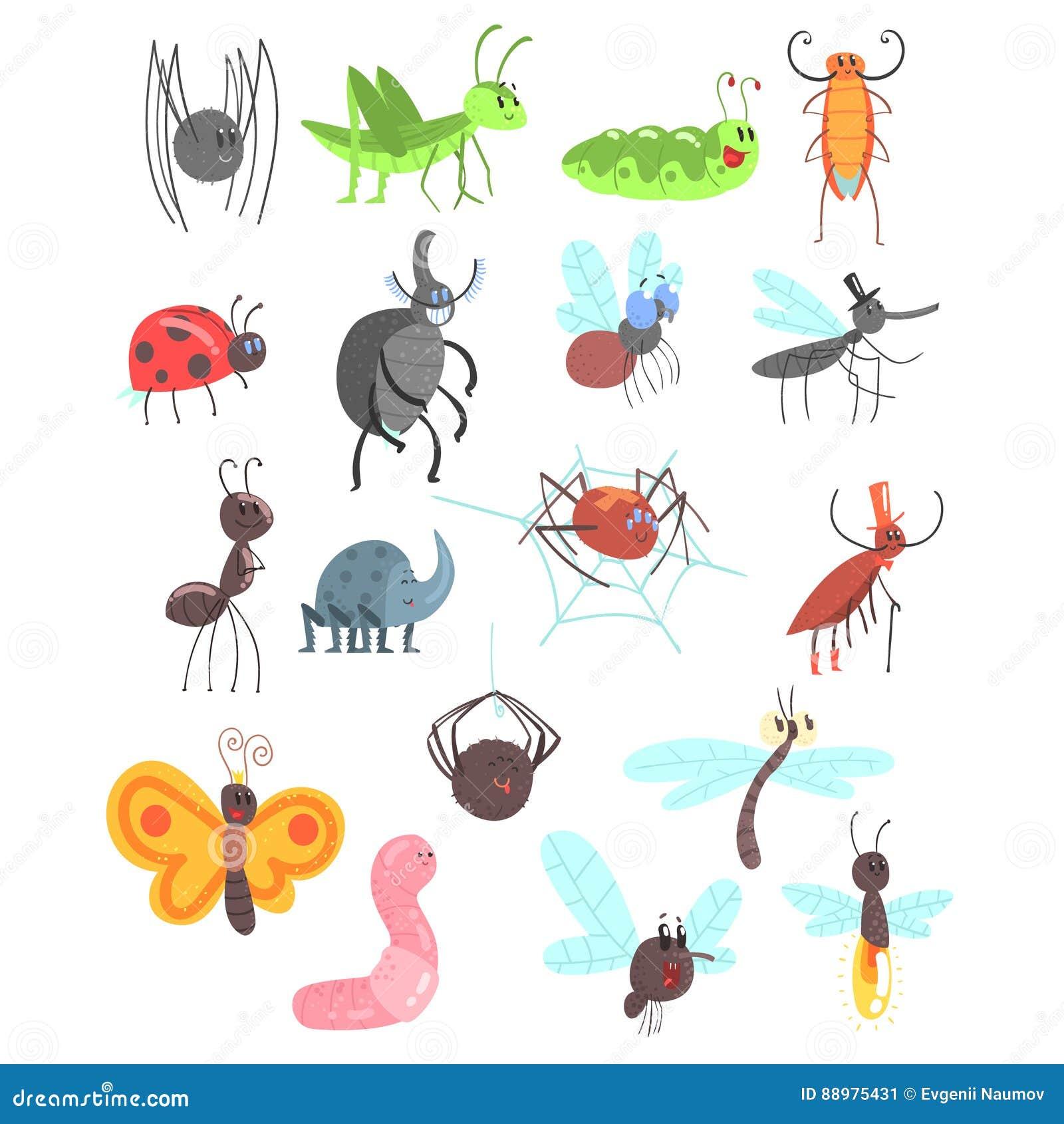 Insetos amigáveis bonitos ajustados com erros dos desenhos animados, besouros, moscas, aranhas e outros animais pequenos