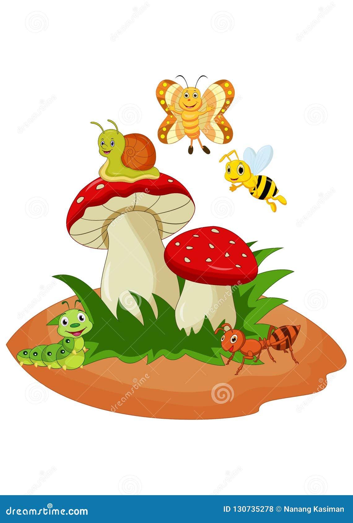 Insetos engraçados dos desenhos animados com cogumelo