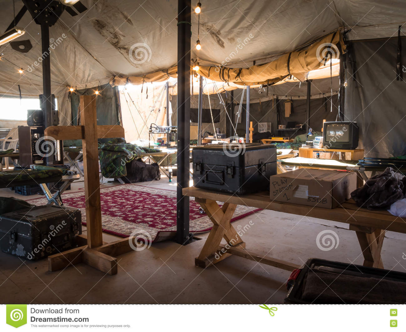 On the inside a army tent stock image  Image of defense