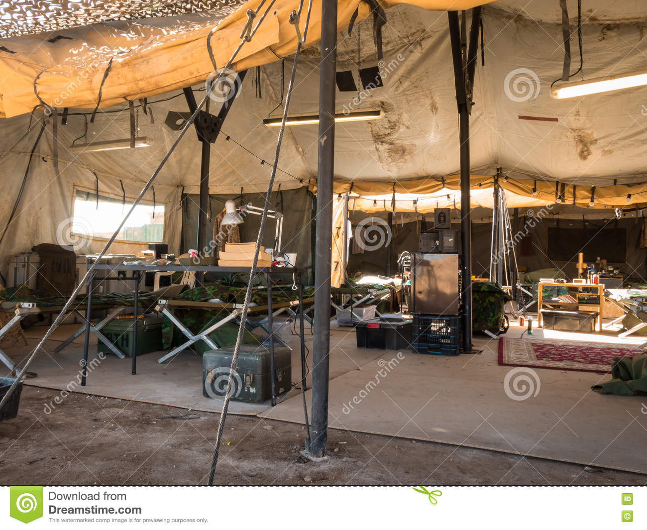 On The Inside A Army Tent Stock Photo Image 77963777