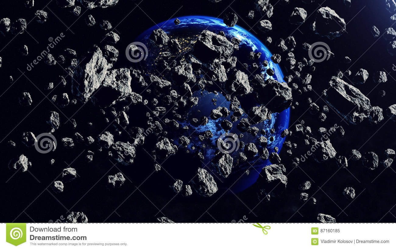 Inside the Asteroid belt seen against the Earth