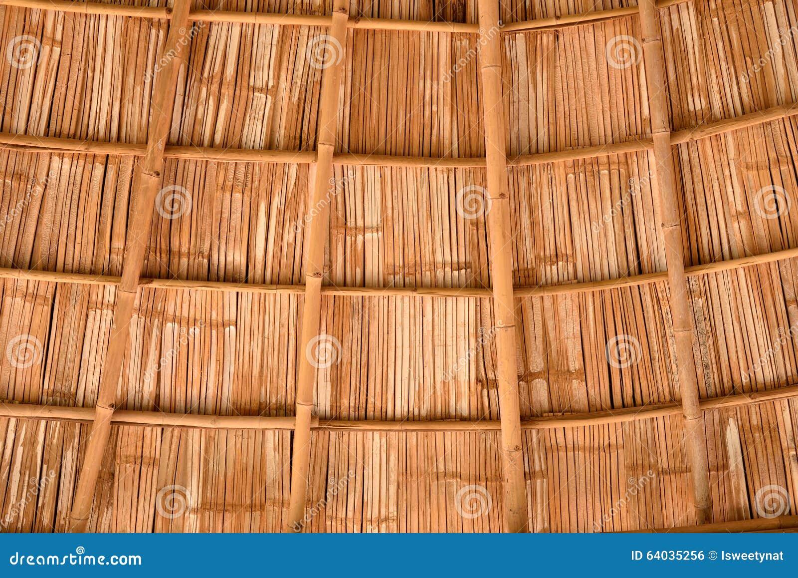 Inside A Bamboo Shingle Roof Stock Photo Image 64035256
