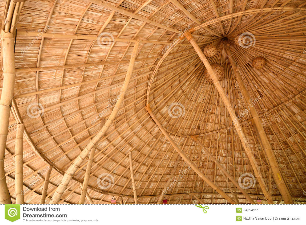 Inside a bamboo shingle roof stock photo image 64054211 for Bamboo roofing materials