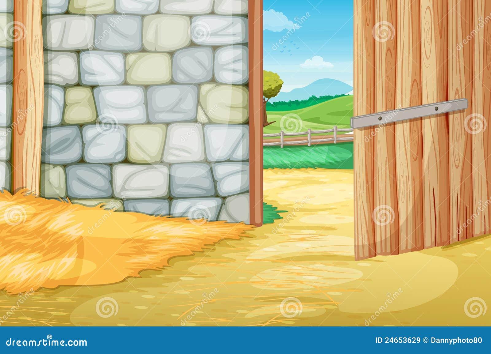 Inside The Barn Stock Vector Illustration Of Clipart
