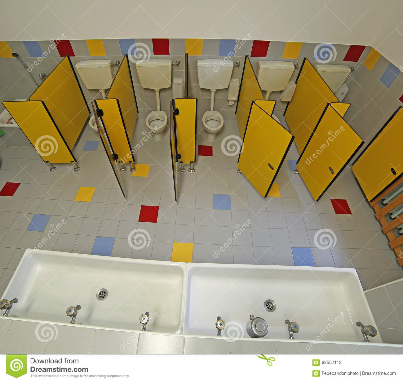 Preschool toilet Auto Flush Bathroom Of Nursery School With Small Toilets And Long Sinks Leport Schools Inside Bathroom Of Nursery School With Small Toilets Stock Image