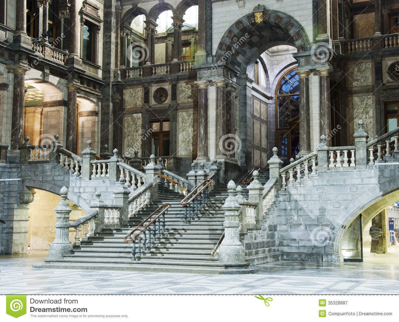Marble In Antwerpen : Inside of the belgium train station stock image image of journey