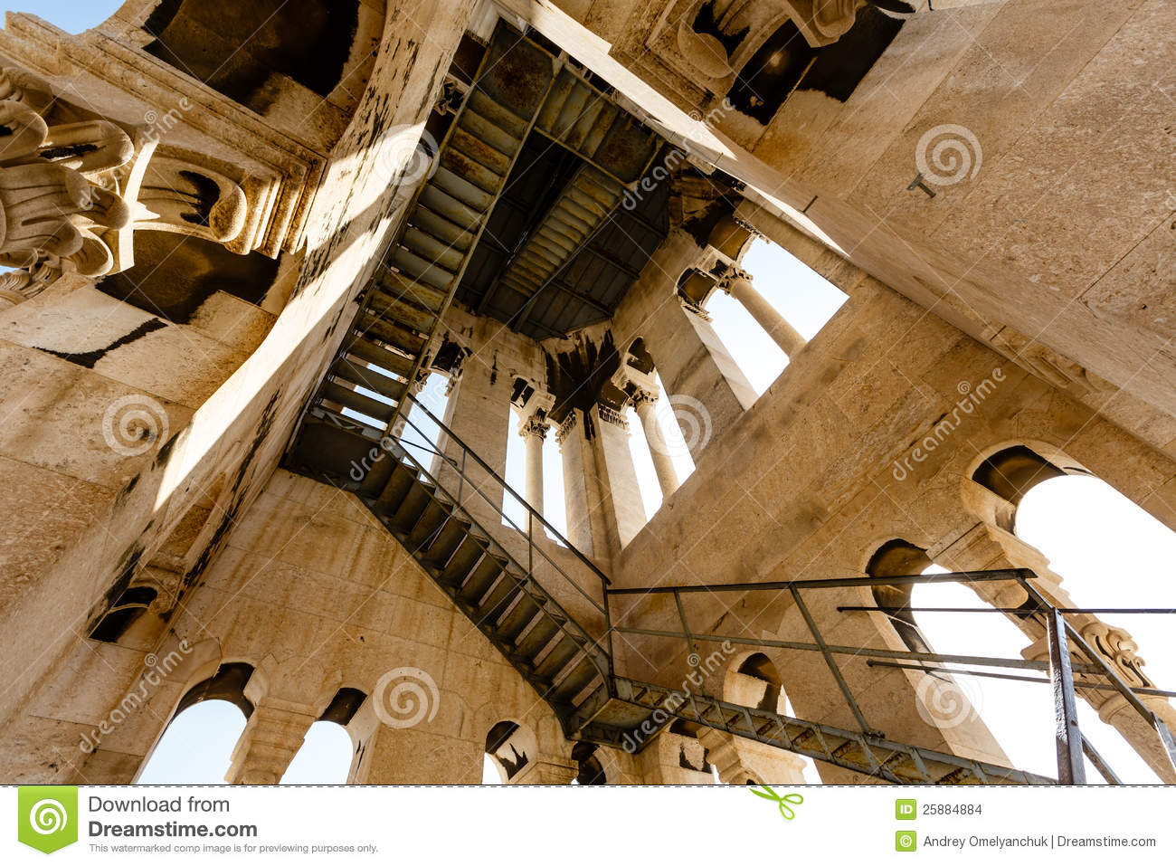 Inside The Bell Tower Of Saint Duje Cathedral Stock Photo