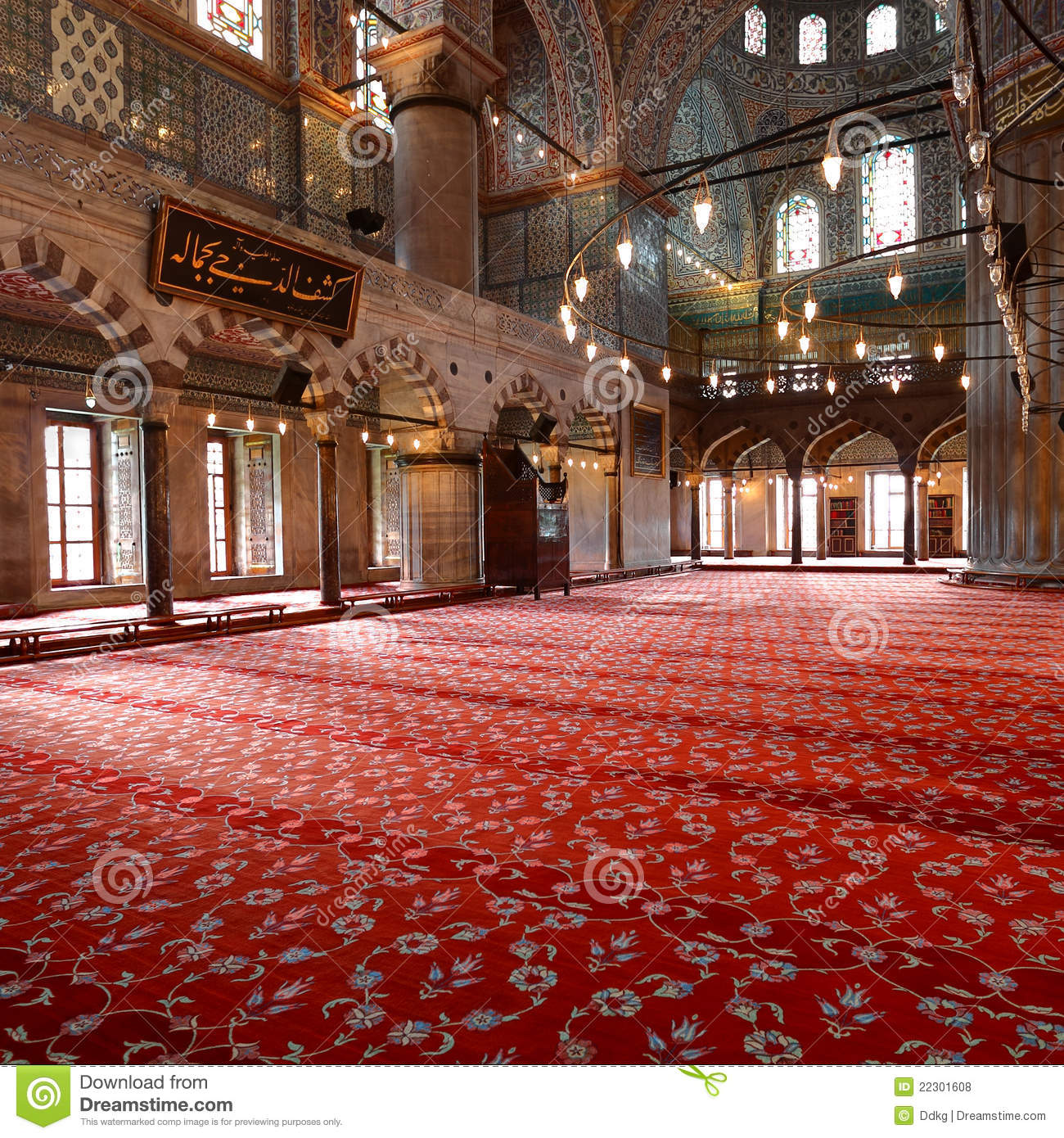 Inside The Blue Mosque In Istanbul Stock Photo Image