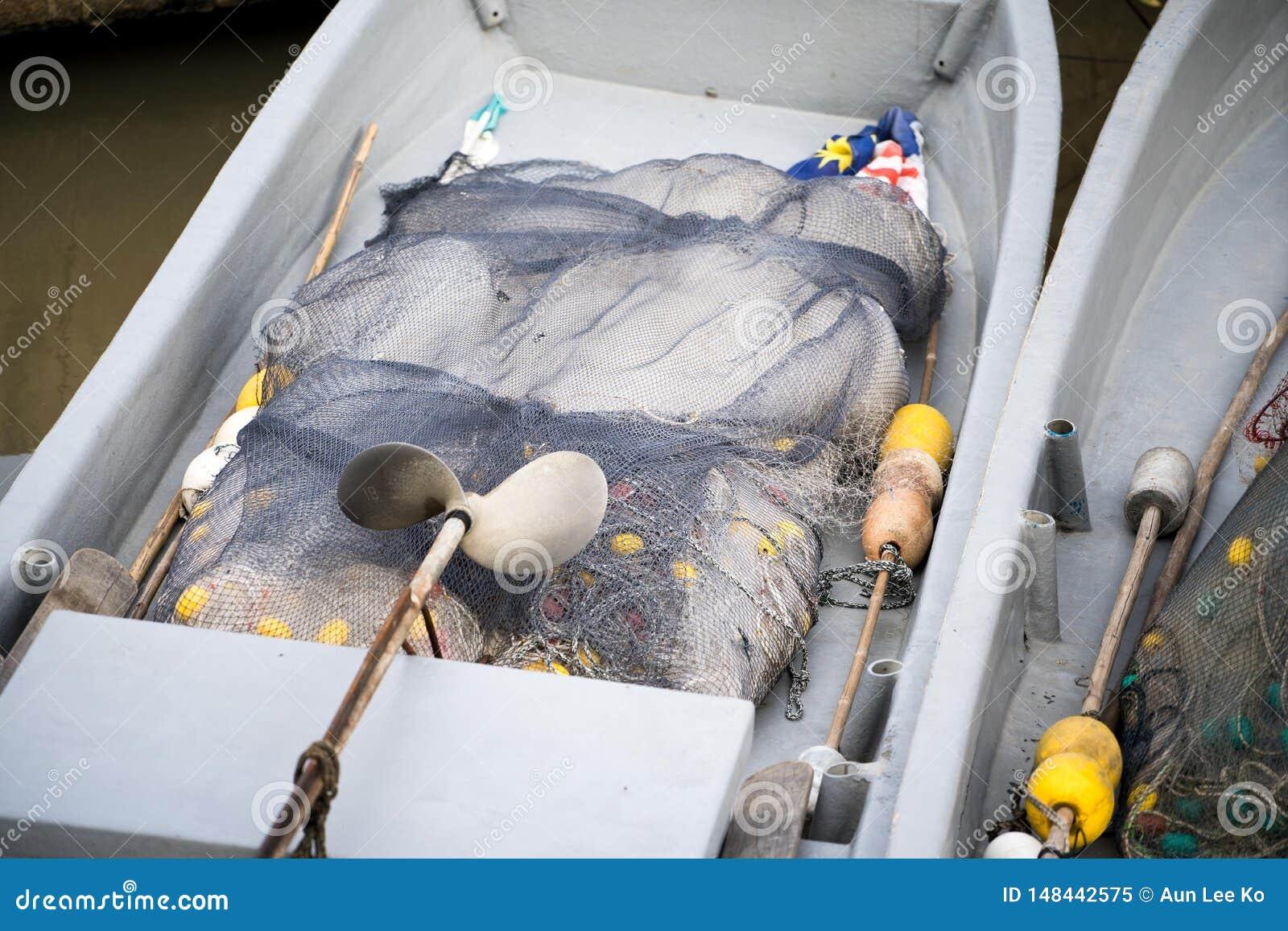 Inside boat with fishing net