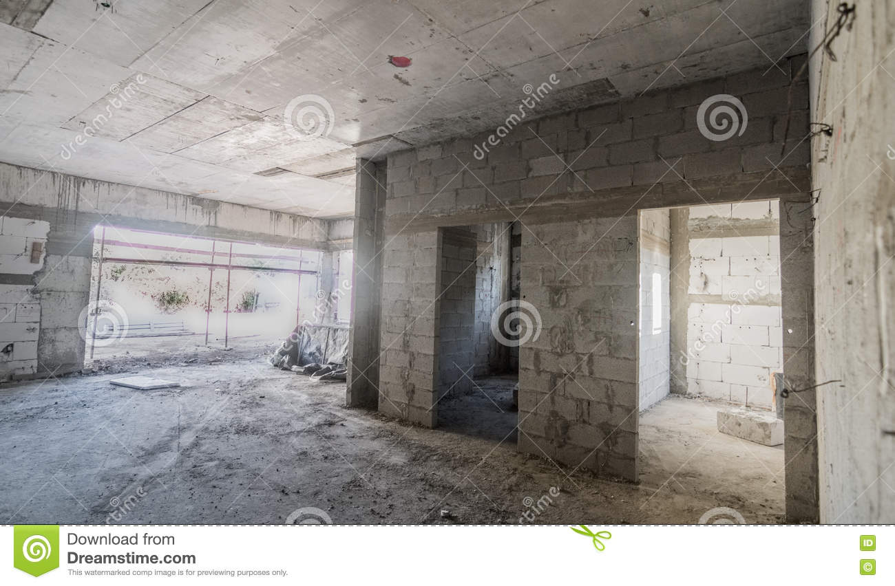 Inside A Brick And Concrete House Under Construction Stock Photo ...