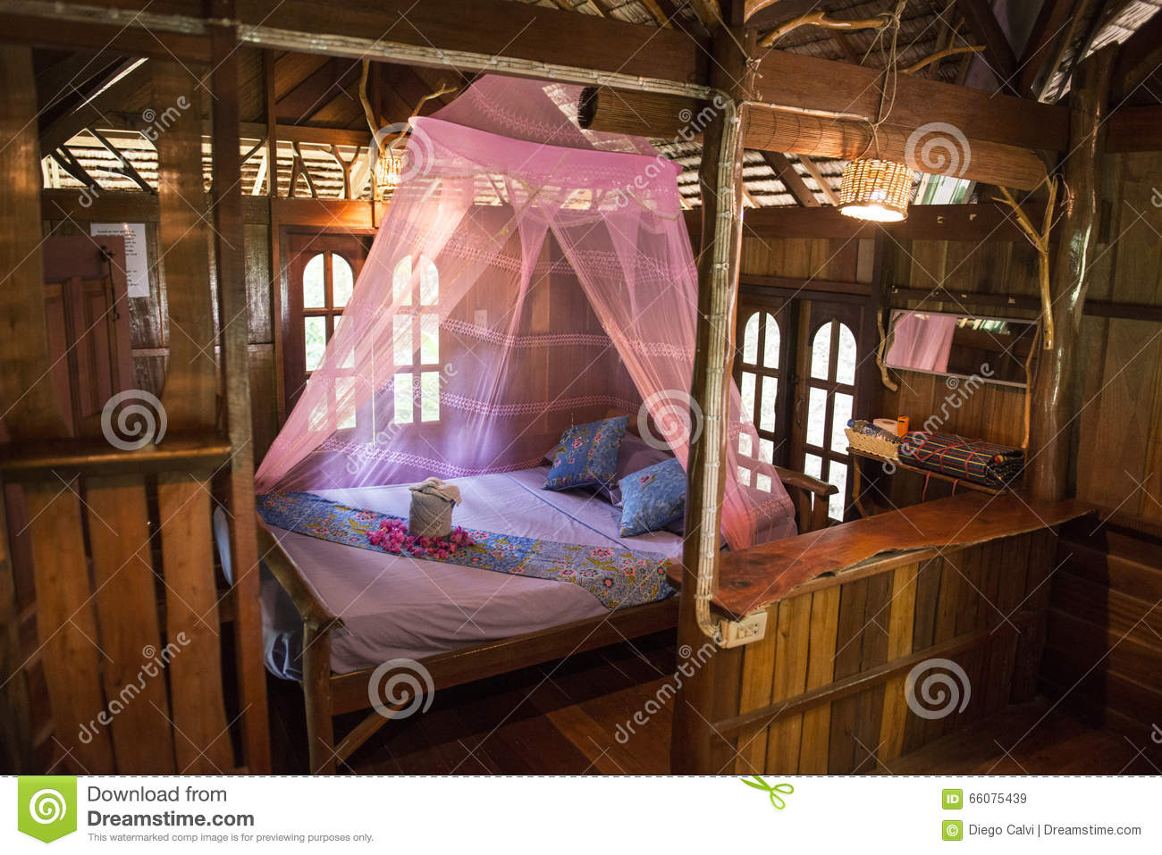Inside Of Bungalow Or Traditional Thai Wooden House Thailand Stock Photo Image 66075439
