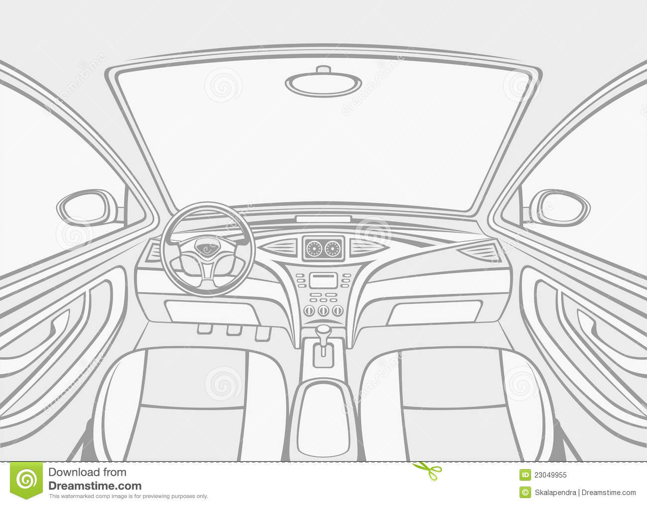 inside car stock vector illustration of drive interior 23049955. Black Bedroom Furniture Sets. Home Design Ideas