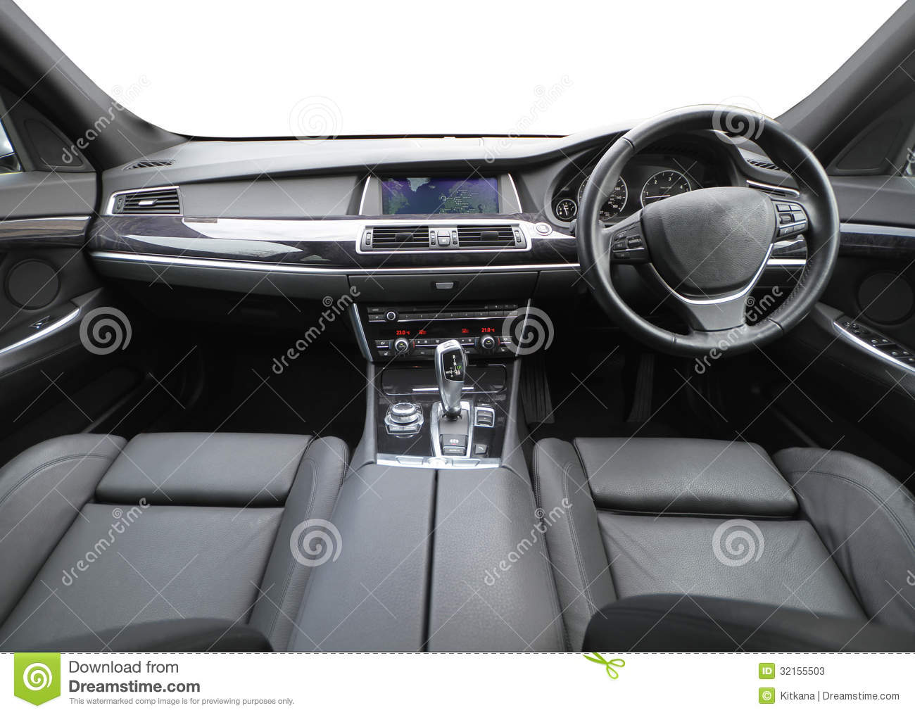 ... the inside of a high class car with white background for the windows