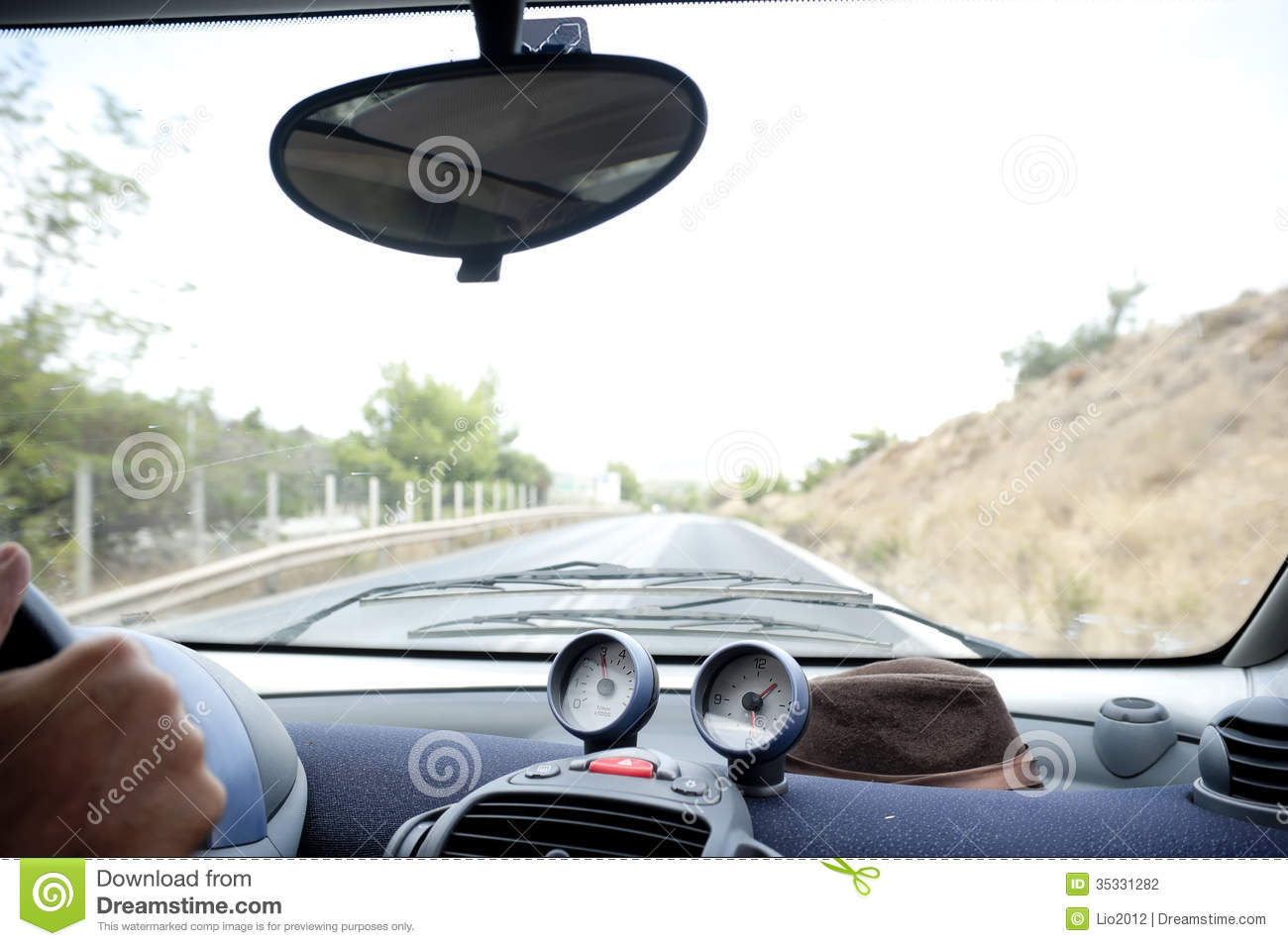 inside car view stock photo image of travel clock driving 35331282. Black Bedroom Furniture Sets. Home Design Ideas