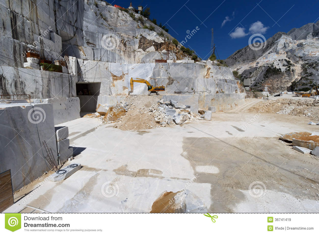 Inside Of Carrara Marble Quarry Tuscany Italy Stock